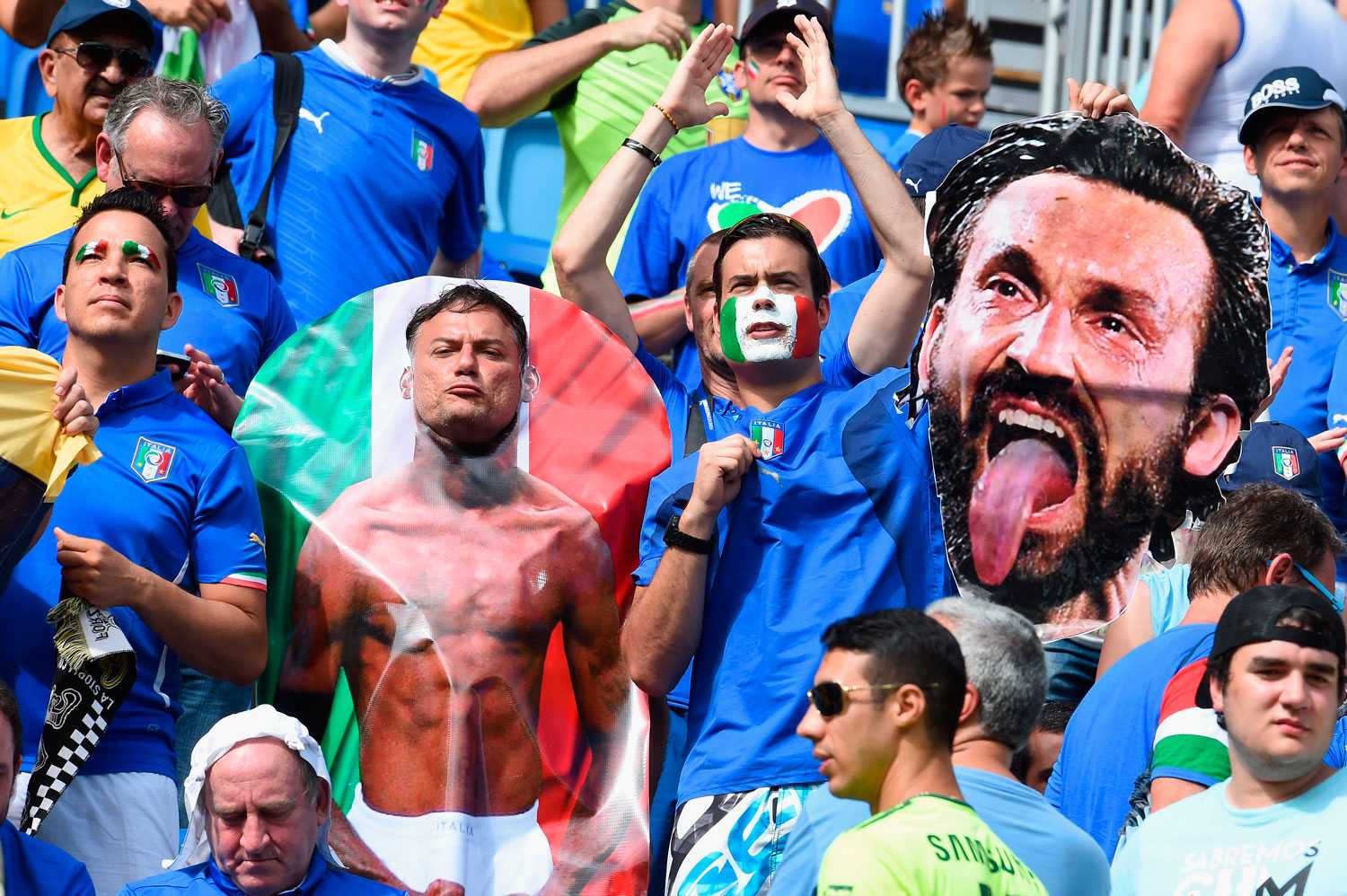 Italy fans hold a cutout of Andrea Pirlo during the match between Italy and Uruguay at Estadio das Dunas on June 24, 2014 in Natal, Brazil.
