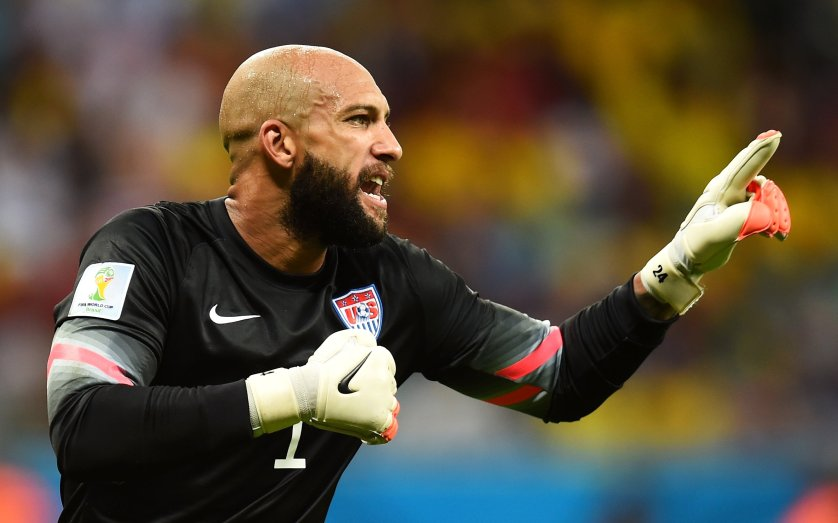 Tim Howard of the United States reacts during the match between Belgium and the United States at Arena Fonte Nova on July 1, 2014 in Salvador, Brazil.