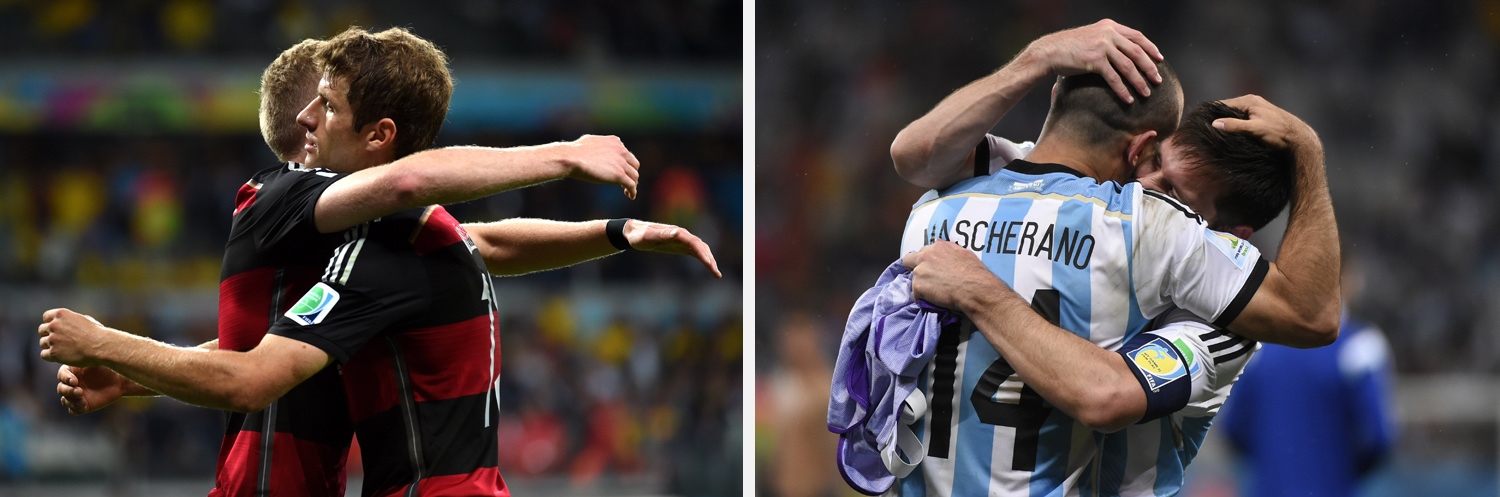 Left: Germany's Thomas Muller celebrates a goal during a semifinal match between Brazil and Germany. Right: Argentina's Javier Mascherano and Lionel Messi celebrate after winning their FIFA World Cup semi-final match against the Netherlands.