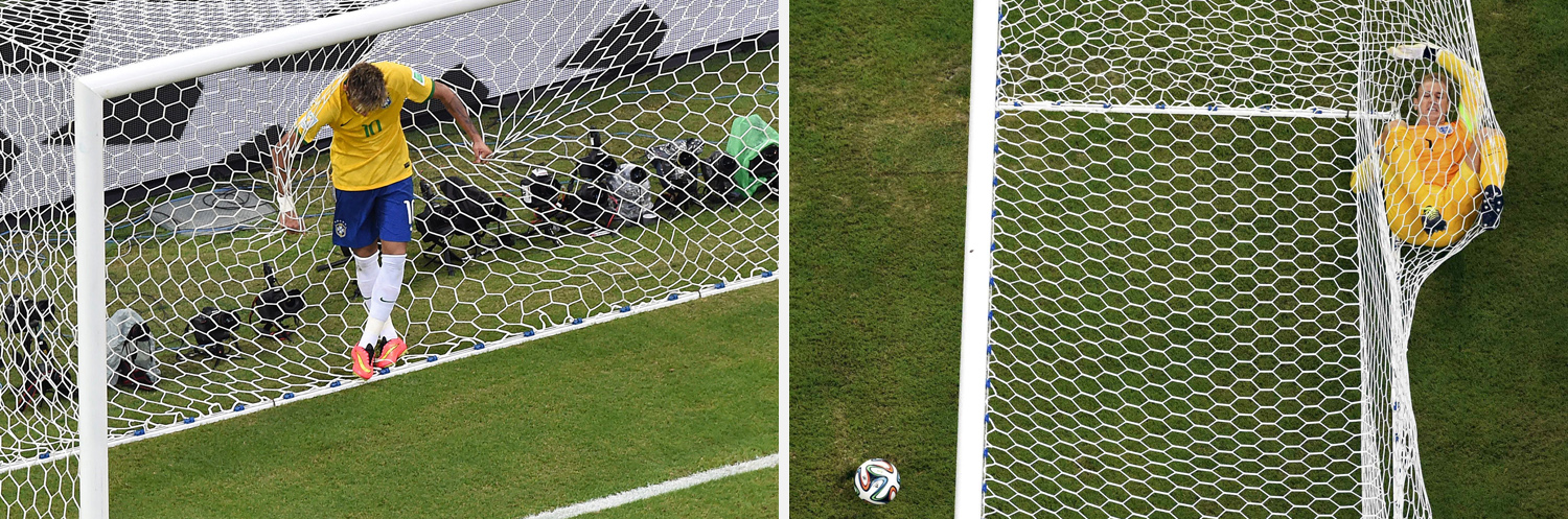 Left: Brazil's forward Neymar reacts after missing a goal opportunity during a match between Brazil and Mexico in the Castelao Stadium. Right: England's goalkeeper Joe Hart rolls inside the goalpost during their 2014 World Cup Group D soccer match at the Amazonia arena
