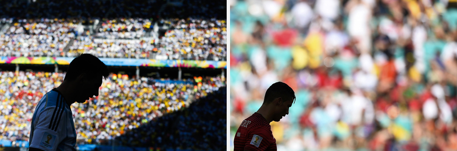 Left: Argentina's Lionel Messi prepares to shoot a corner kick during the World Cup round of 16 soccer match between Argentina and Switzerland at the Itaquerao Stadium in Sao Paulo. Right: A silhouette of Portugal's Cristiano Ronaldo is seen reacting during their match against Germany at the Fonte Nova arena in Salvador.