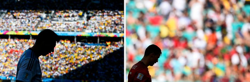 A silhouette of Portugal's Cristiano Ronaldo is seen reacting during their 2014 World Cup Group G soccer match agaisnt Germany at the Fonte Nova arena in Salvador