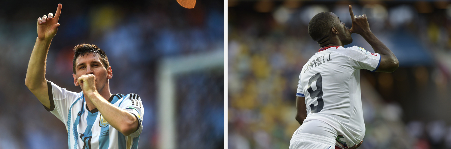 Left: Argentine striker Lionel Messi celebrates his goal against Iran during their match in Belo Horizonte. Right: Costa Rica's Joel Campbell celebrates with the match ball after scoring against Uruguay during their match at the Castelao stadium.