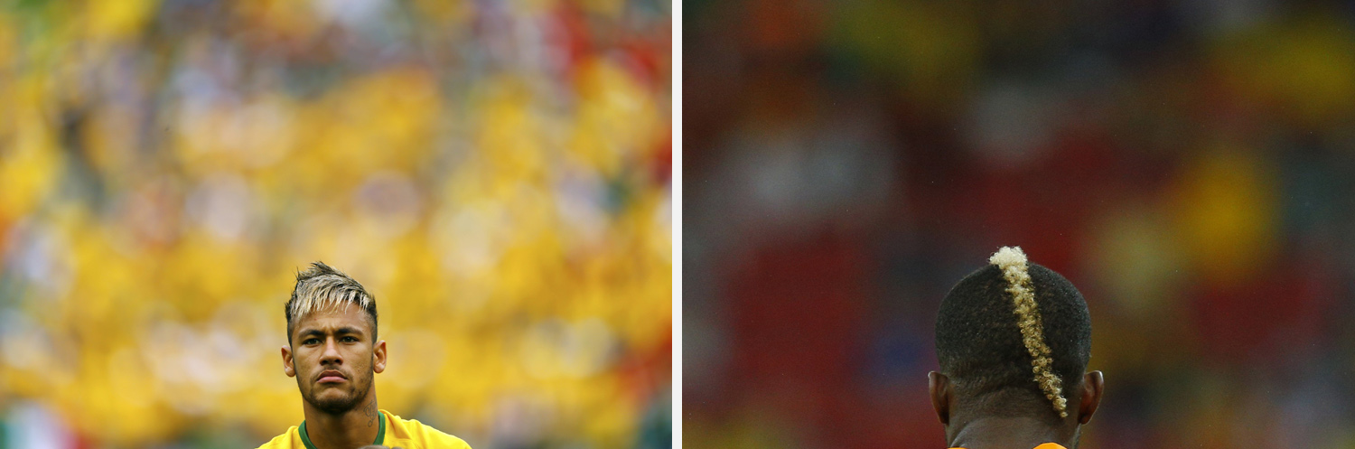 Left: Brazil's Neymar stands during the 2014 World Cup Group A soccer match between Brazil and Mexico at the  Right: Ivory Coast's Geoffroy Serey Die is seen from the back during their 2014 World Cup Group C soccer match against Japan.