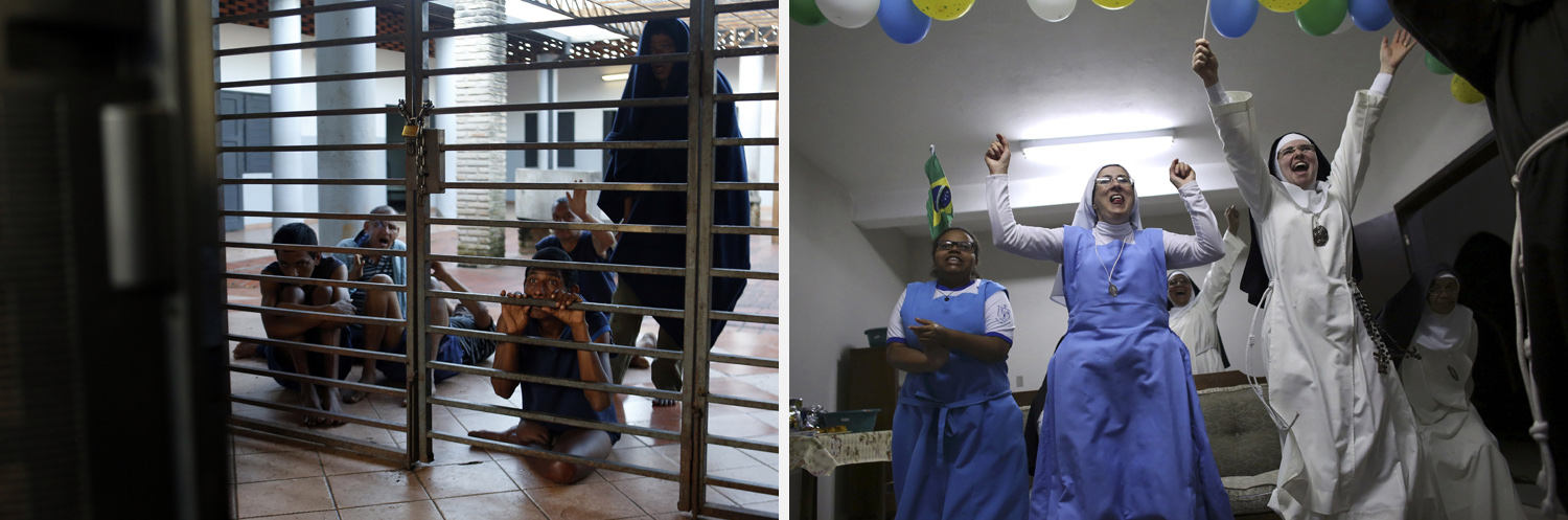 Left: Patients at the Asuncion Psychiatric Hospital watch the first match of the World Cup between Brazil and Croatia, in Asuncion, Paraguay. Right: Nuns from the enclosed monastery of Imaculada Conceicao celebrate Brazil's victory as they watch on television.