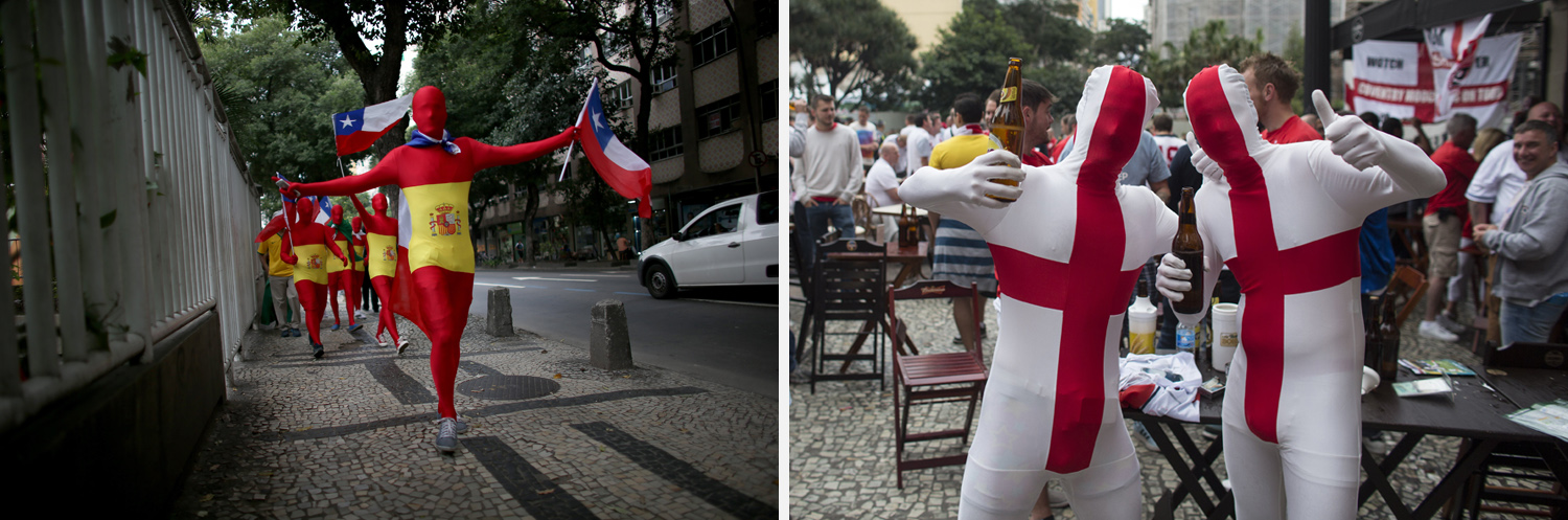 Left: A group of Chilean soccer fans walk through the streets as they wait for their team to play Spain during the World Cup. Right: Fans of England wearing full-body suits pose for a photograph in a bar before the England match against Uruguay on in Sao Paulo.