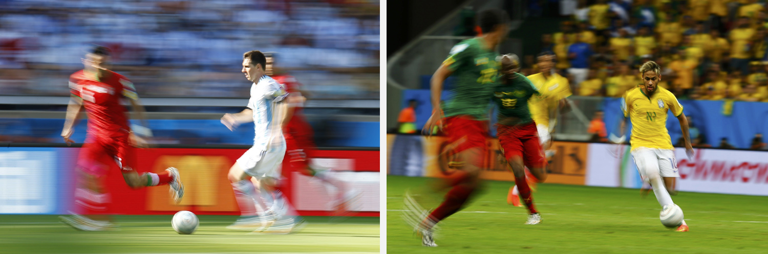 Left: Argentina's Lionel Messi fights for the ball during their match against Iran at the Mineirao stadium in Belo Horizonte. Right: Brazil's Neymarcontrols the ball against Cameroon during their match at the Brasilia national stadium in Brasilia.