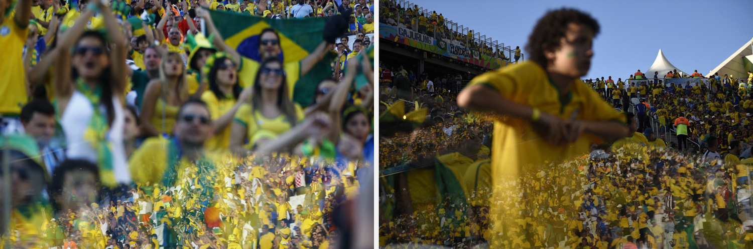 Left: A reflection of cheering fans is seen before the 2014 World Cup opening match between Brazil and Croatia at the Corinthians arena in Sao Paulo. Right: Brazilian fans await the kick off of a Group A football match between Brazil and Croatia at the Corinthians Arena in Sao Paulo.