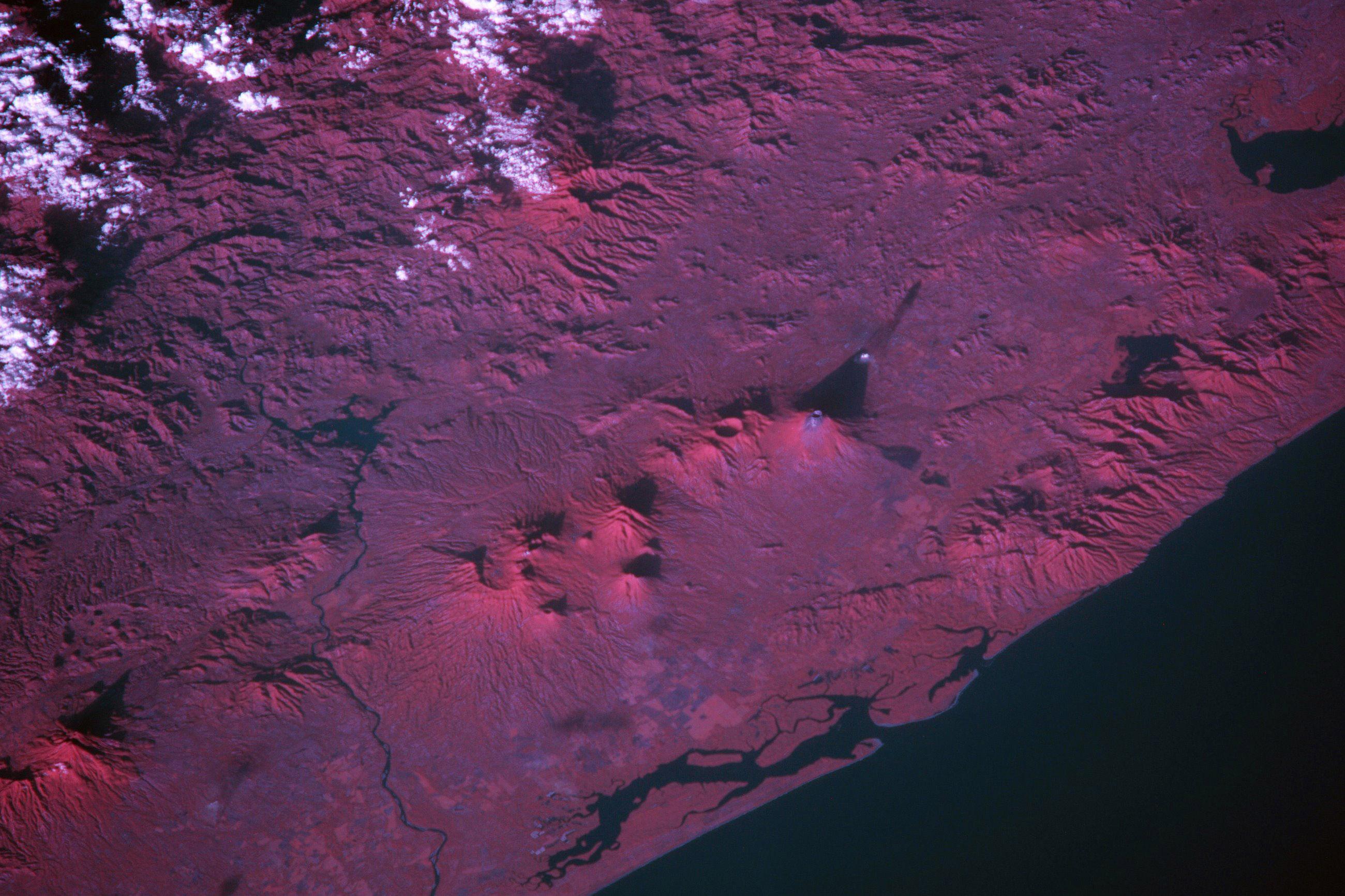 Volcanoes in Guatemala in near infrared.