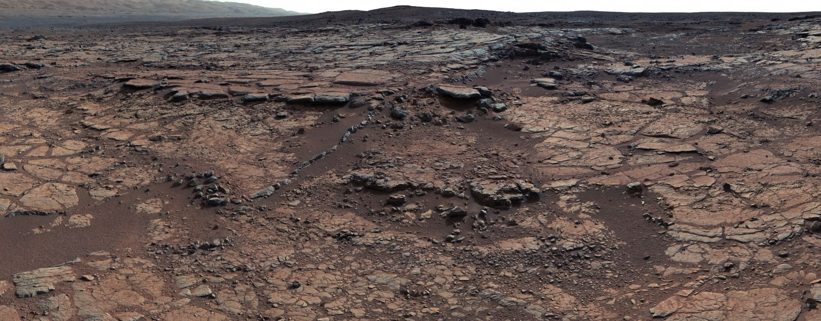 This mosaic of images from Curiosity's Mast Camera (Mastcam) shows geological members of the Yellowknife Bay formation. The scene has the Sheepbed mudstone in the foreground and rises up through Gillespie Lake member to the Point Lake outcrop. The scene is a portion of a 111-image mosaic acquired during the 137th Martian day, or sol, of Curiosity's work on Mars (Dec. 24, 2012).