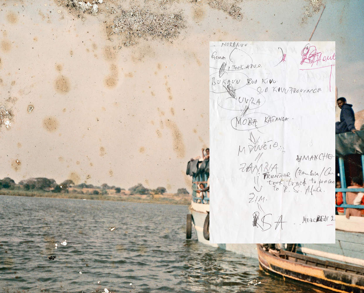 A spread from the Ponte City book that includes a hand-written note with a map showing a Congolese refugee's journey to South Africa. This is overlaid on a photograph found in the same abandoned apartment.
