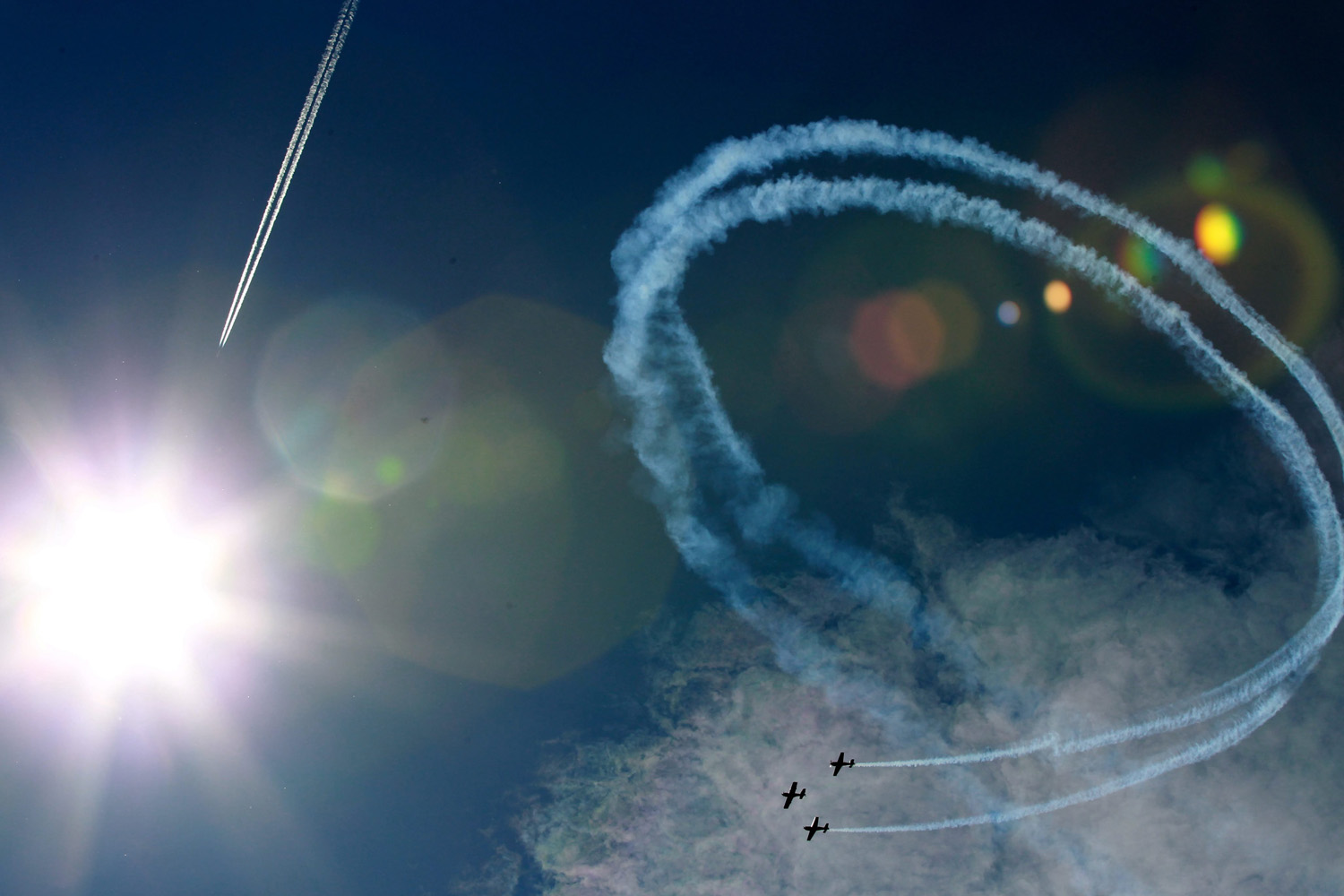 Aug. 17, 2014. Aerobatic group 'FireBirds' from Poland performs during an airshow in Nowy Targ, Tatra Region, Poland.