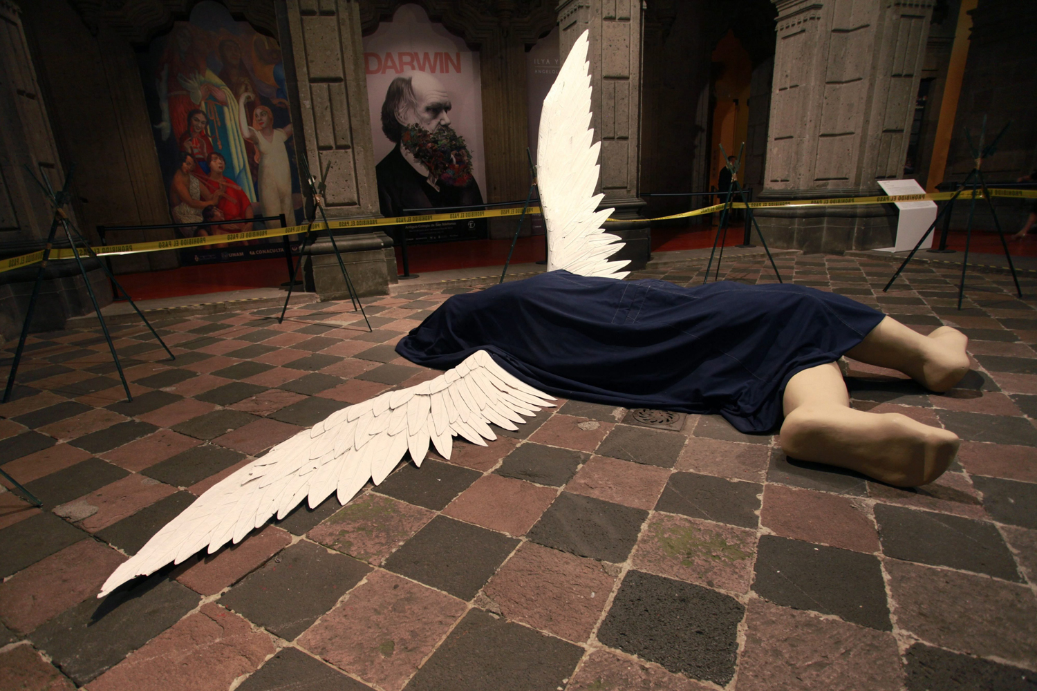 Aug. 27, 2014. View of the artwork 'Fallen Angel' during the exhibition 'Ilya y Emilia Kabakov. Angelogy: Utopia and Angels' by Russian couple artists Ilya y Emilia Kabakov at the former school of San Idelfonso in Mexico City, Mexico.
