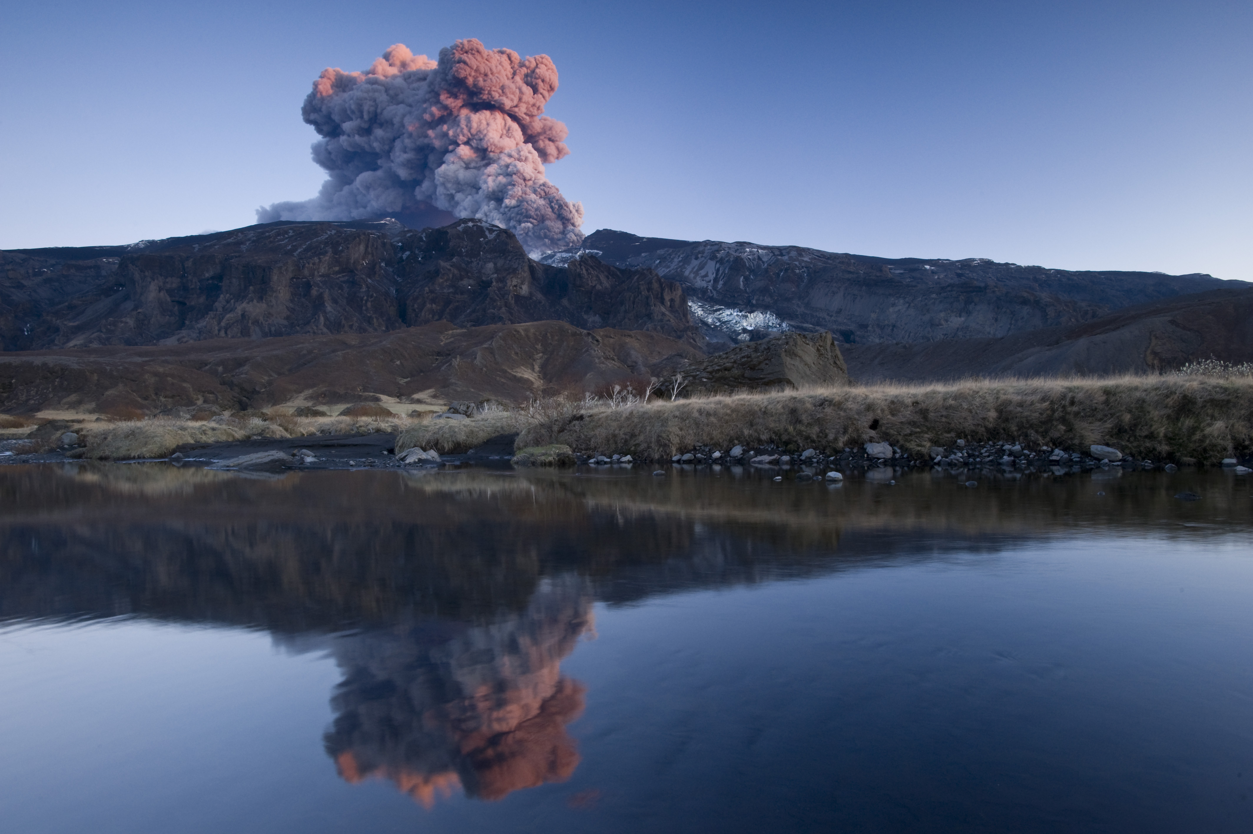 Eyjafjallajokull erupts, producing a cloud of vapor on May 10, 2010 in Iceland.