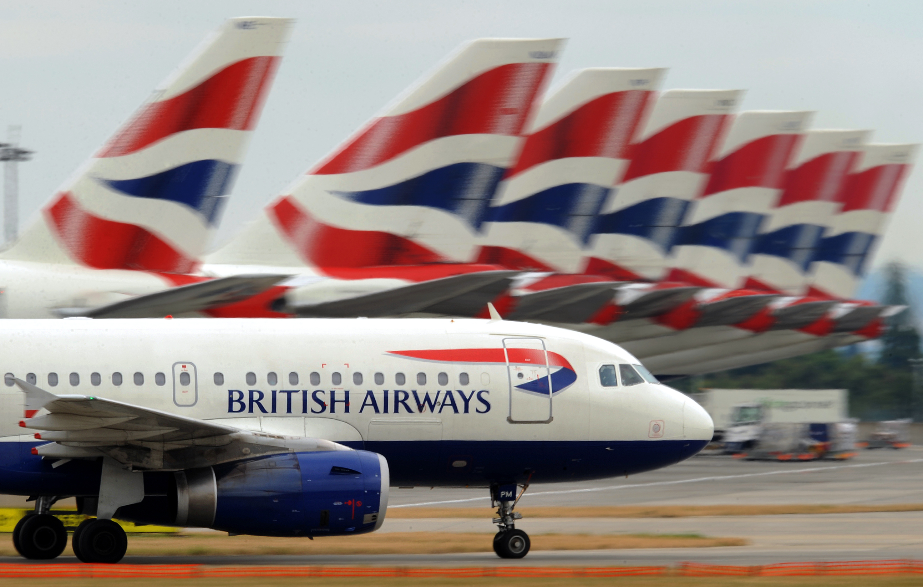 A British Airways aircraft at Terminal 5 of Heathrow Airport in west London, on July 30, 2010.