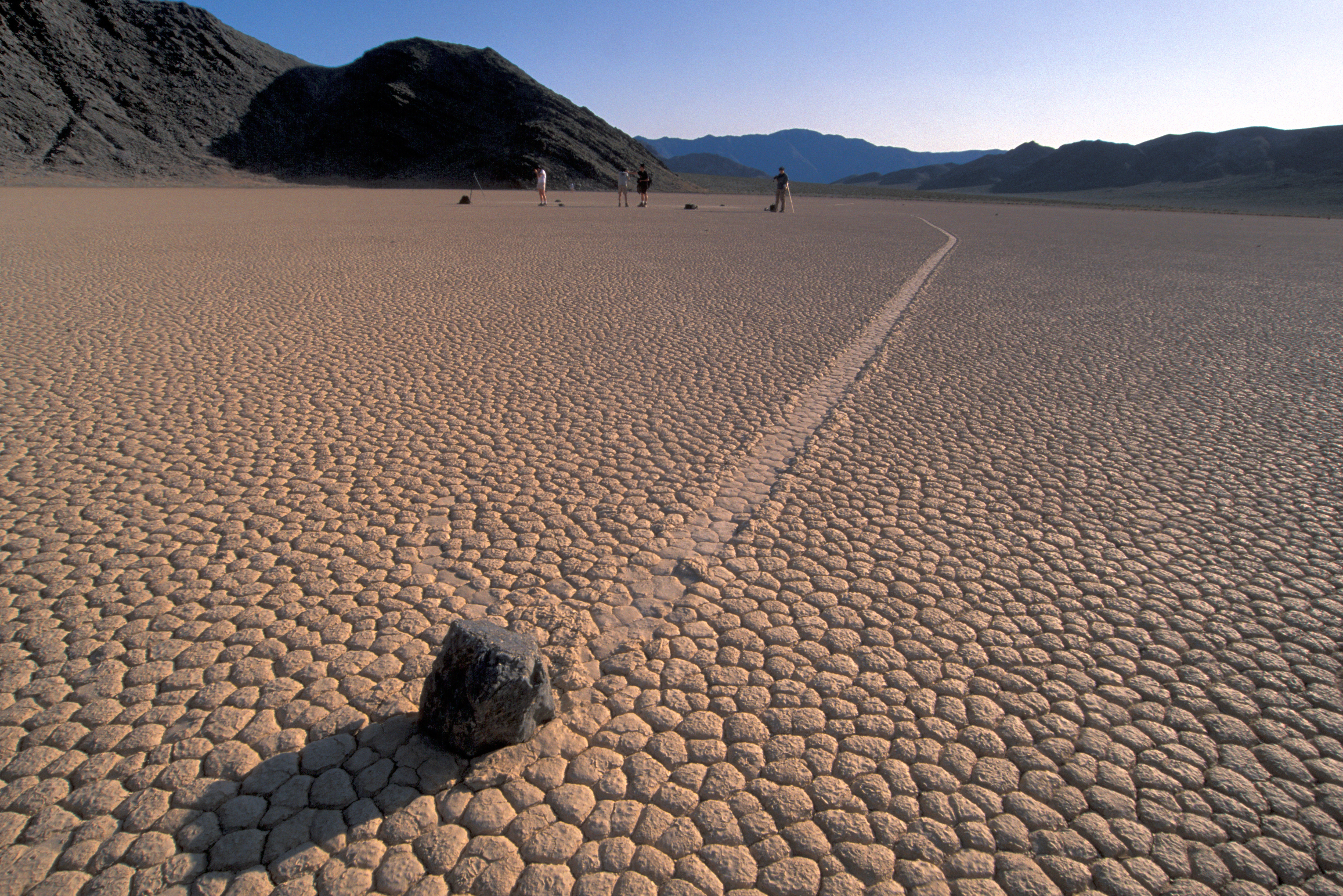 A sailing stone in Racetrack playa, Death Valley, in California