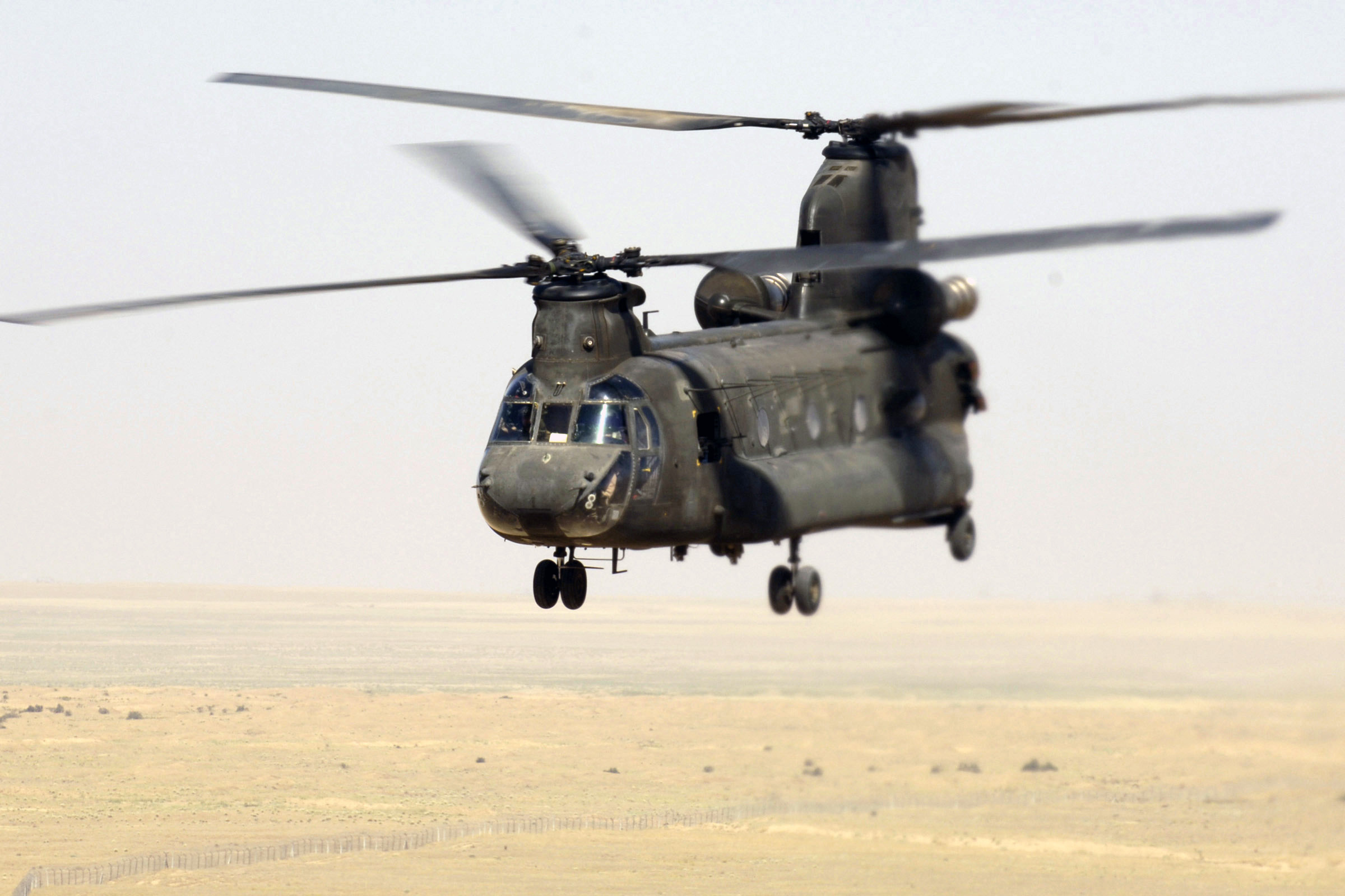 CH-47 Chinook helicopters, like this one over Iraq, could be used to airlift stranded Iraqi refugees to safety.
