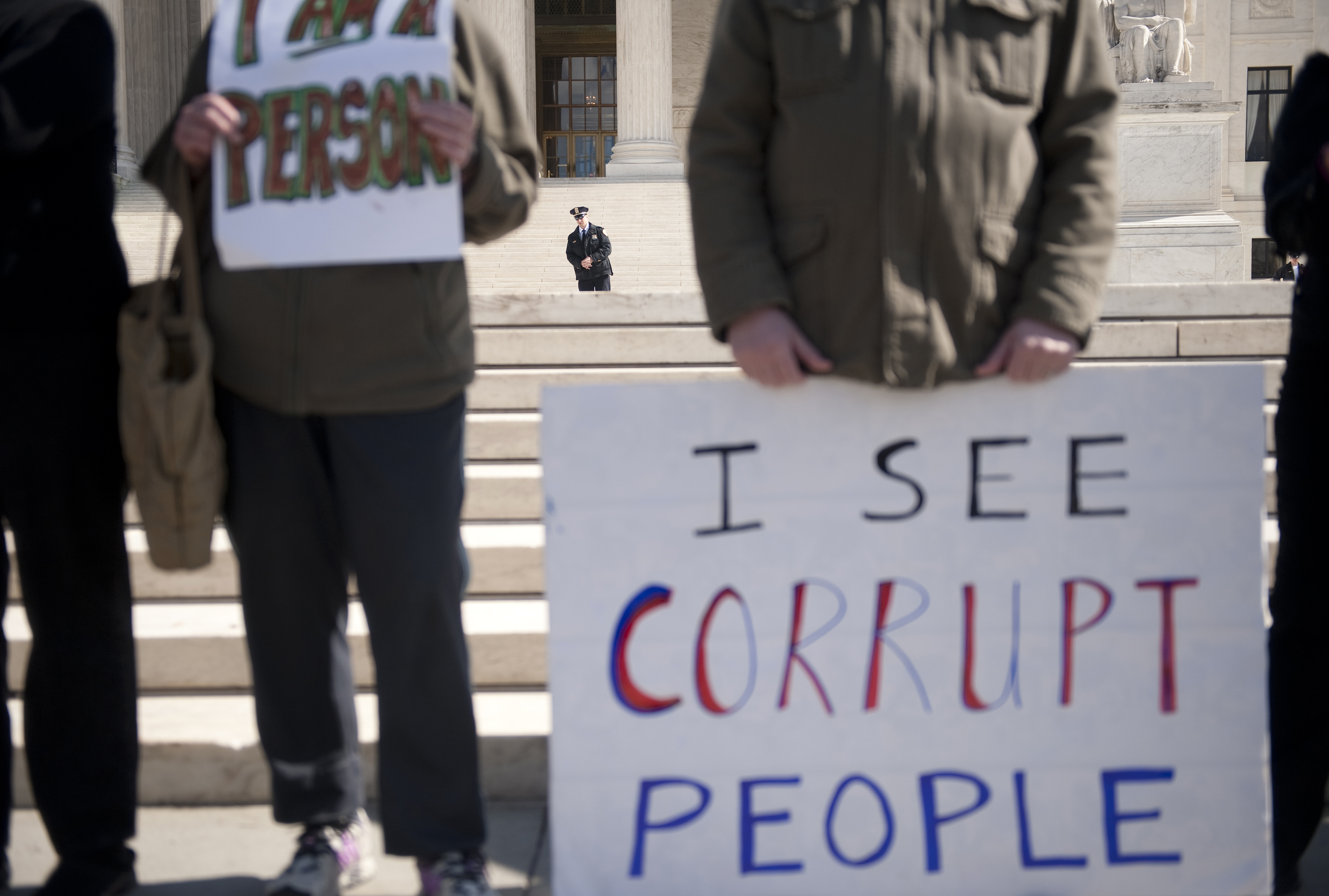 Common Cause, a national nonpartisan   citizens  lobbying group, held a protest to urge the Supreme Court to overturn Citizens United v. Federal Election Commission.
