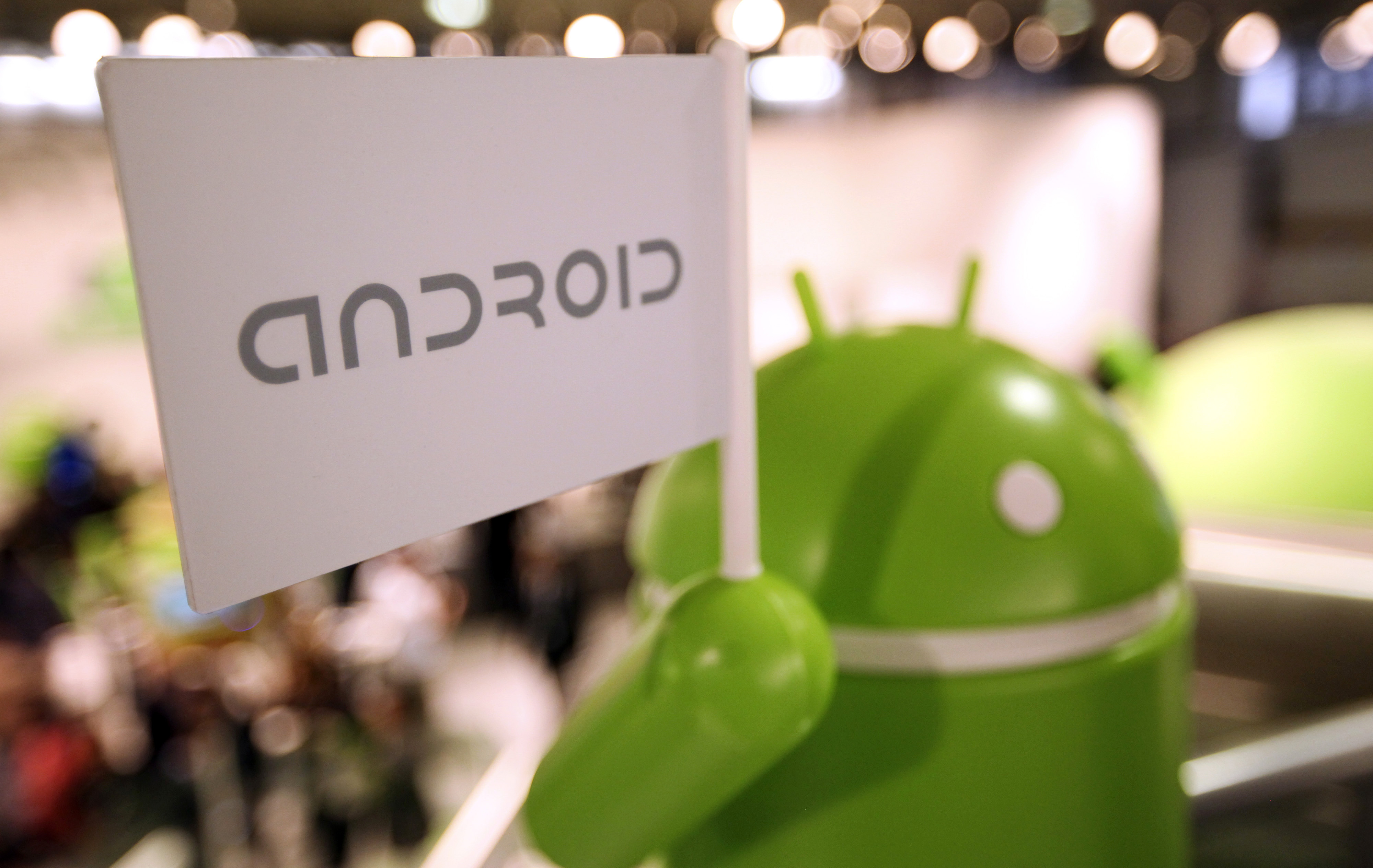 A model of the Android operating system logo at the Mobile World Congress in Barcelona, Spain, on Feb. 27, 2012.