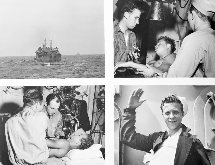 Dr. Van Derschour (lower left) treats a sailor from a cargo ship during convoy operations.