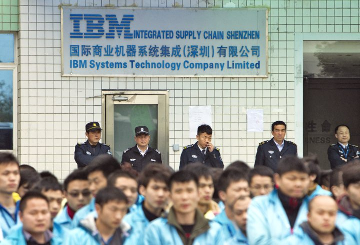 IBM workers protest at an IBM factory in Shenzhen