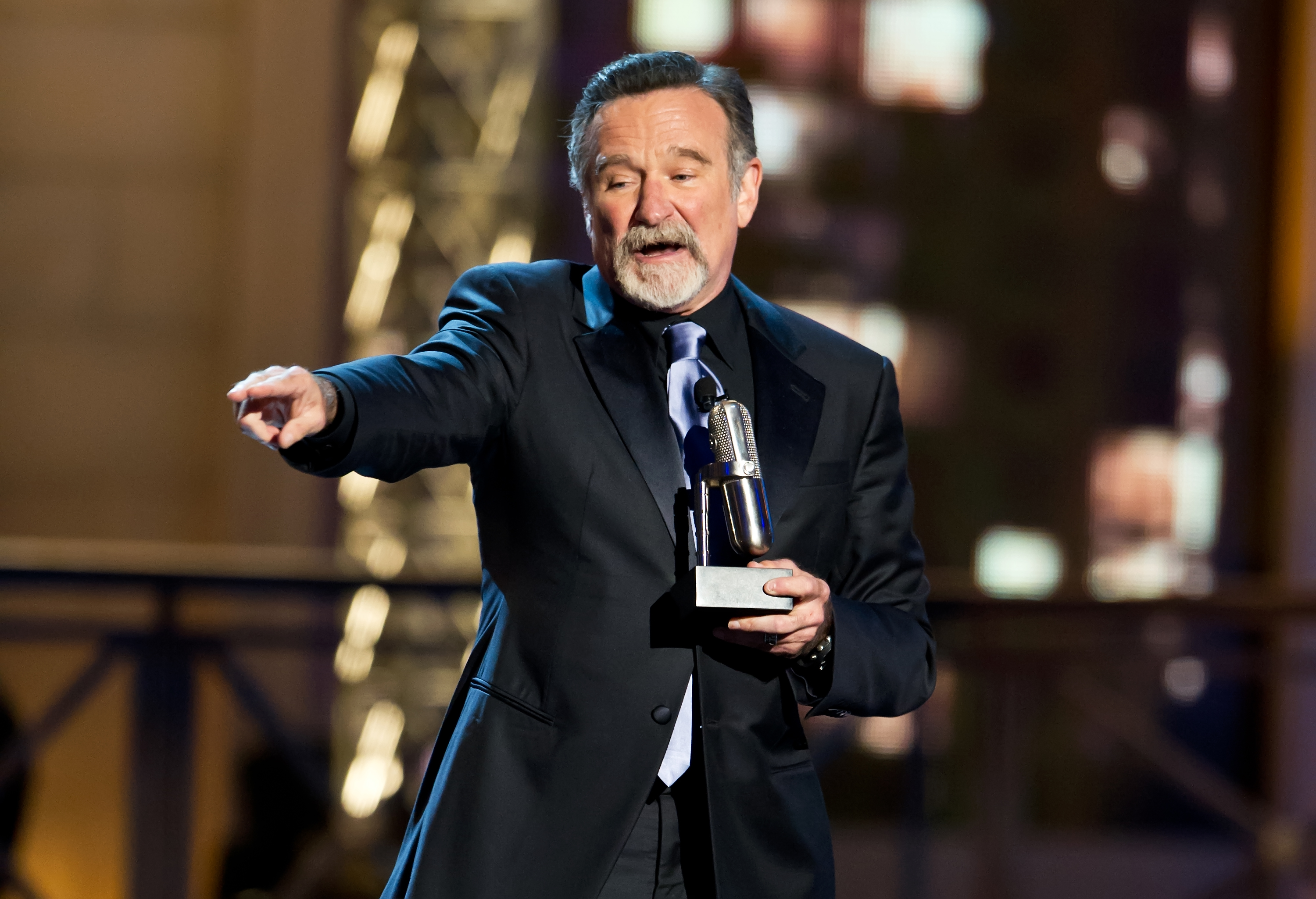 Comedian Robin Williams accepts an award onstage at The Comedy Awards 2012 at Hammerstein Ballroom on April 28, 2012 in New York City.