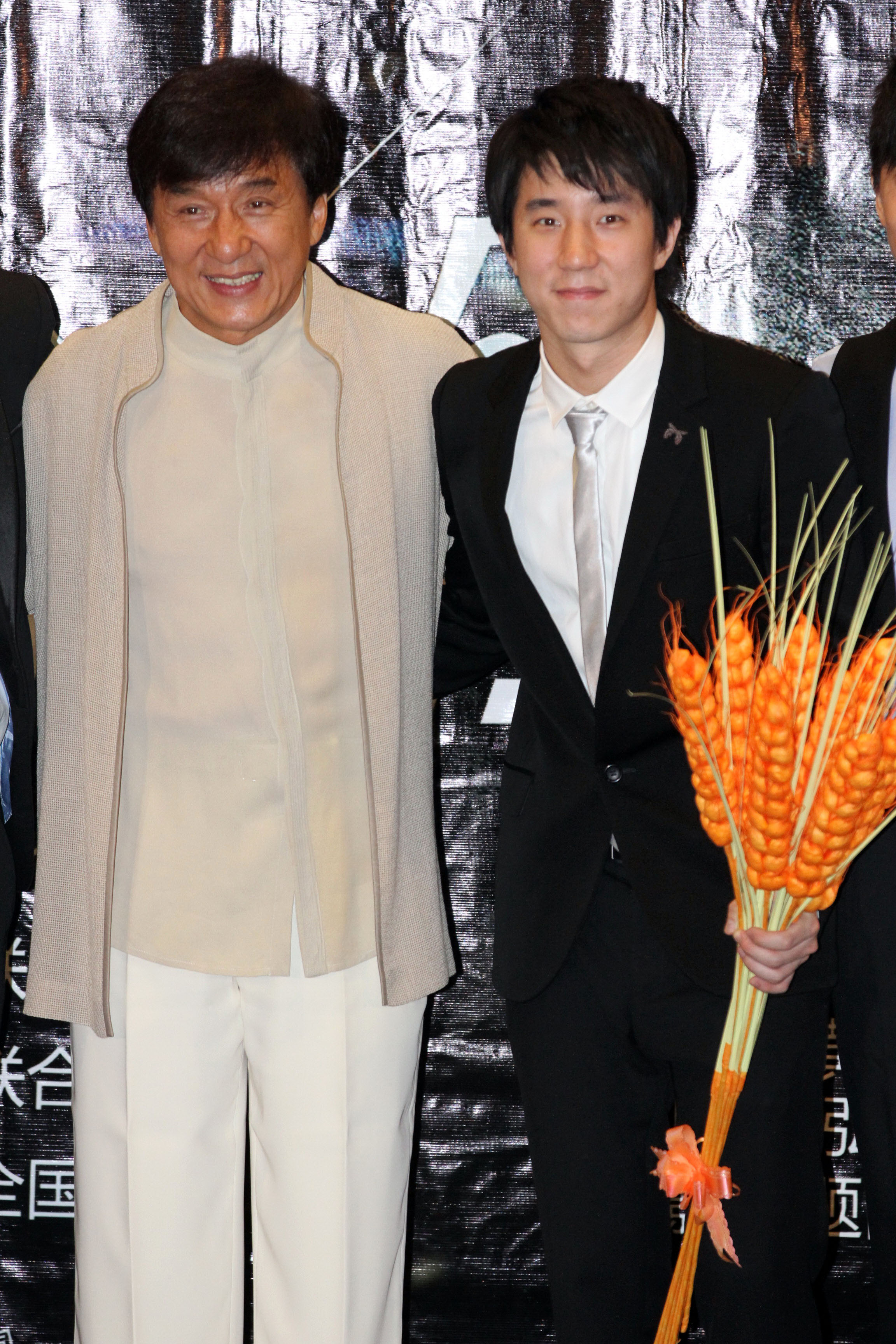 Actor Jackie Chan and his actor-singer son Jaycee Chan attend  Double Trouble  premiere at Jackie Chan Yaolai International Cinema on June 5, 2012 in Beijing.