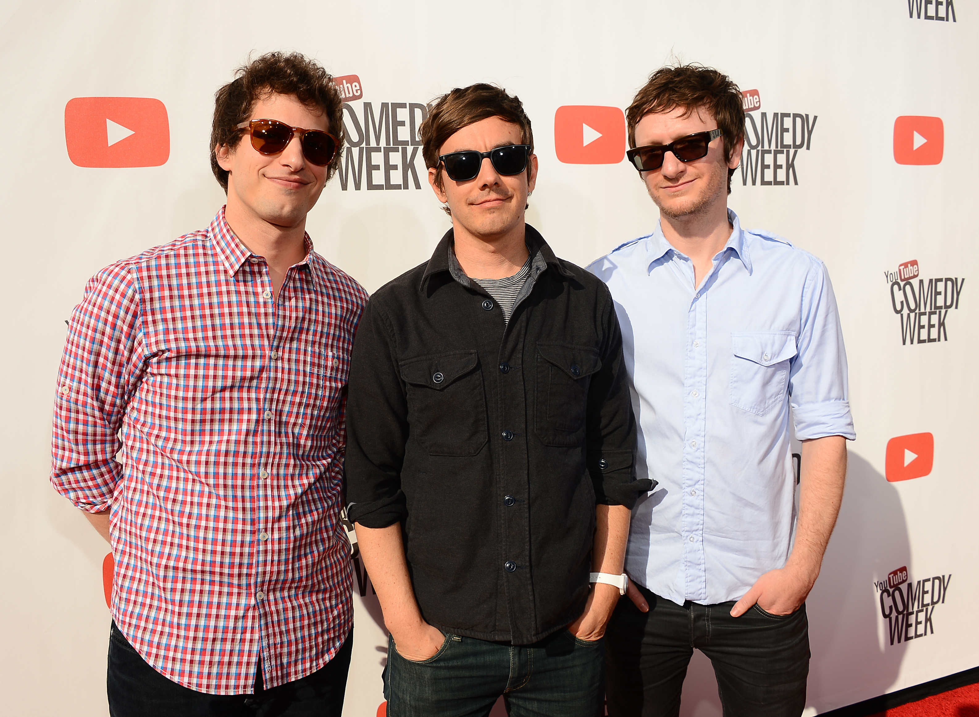 Actors/comedians Andy Samberg, Jorma Taccone and Akiva Schaffer of The Lonely Island attend  The Big Live Comedy Show  presented by YouTube Comedy Week held at Culver Studios in Culver City, Calif. on May 19, 2013.