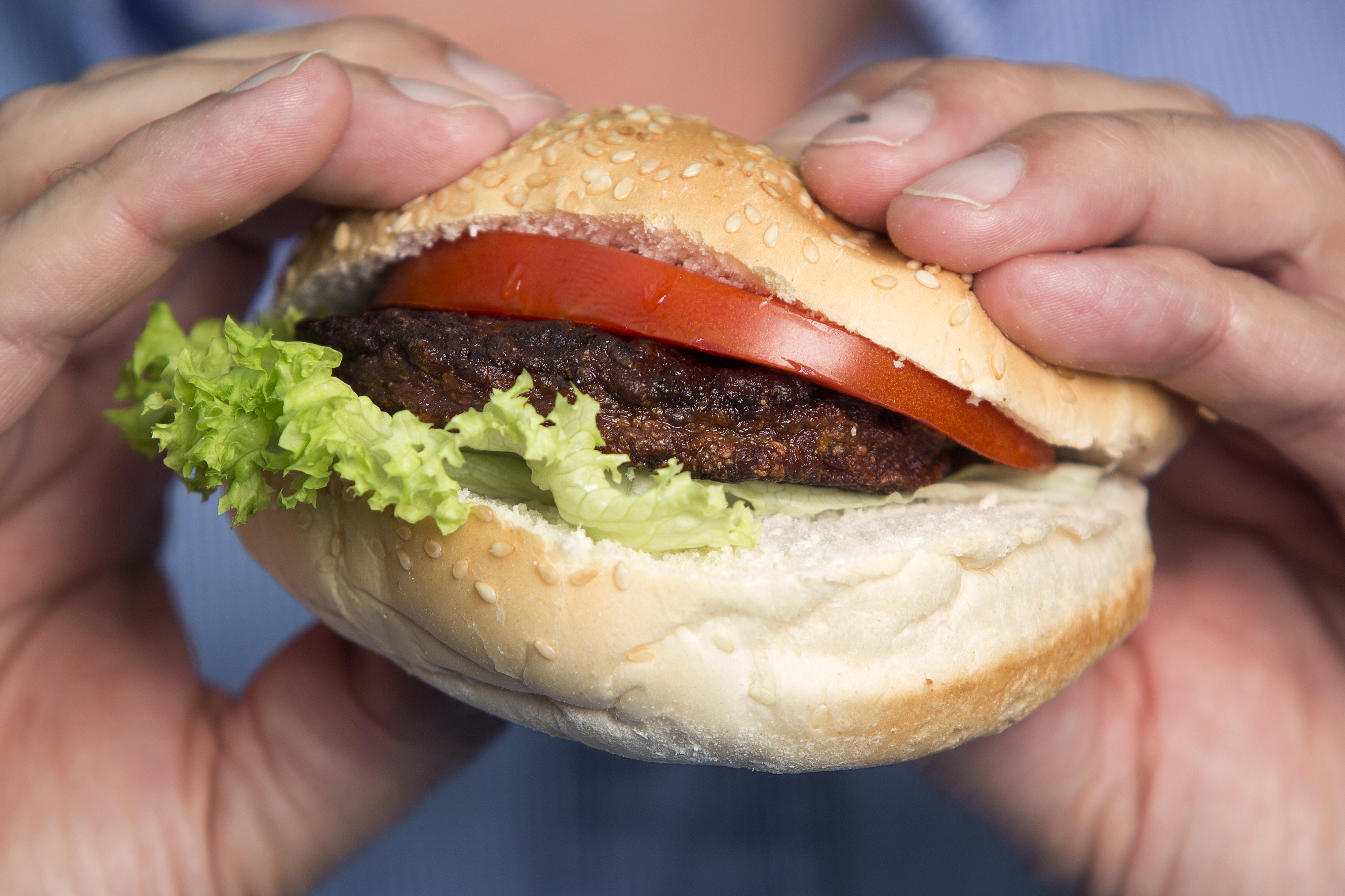 A beef burger created by stem cells harvested from a living cow is held for a photograph by Mark Post, a Dutch scientist, following a Bloomberg Television interview in London, U.K., on Tuesday, Aug. 6, 2013.