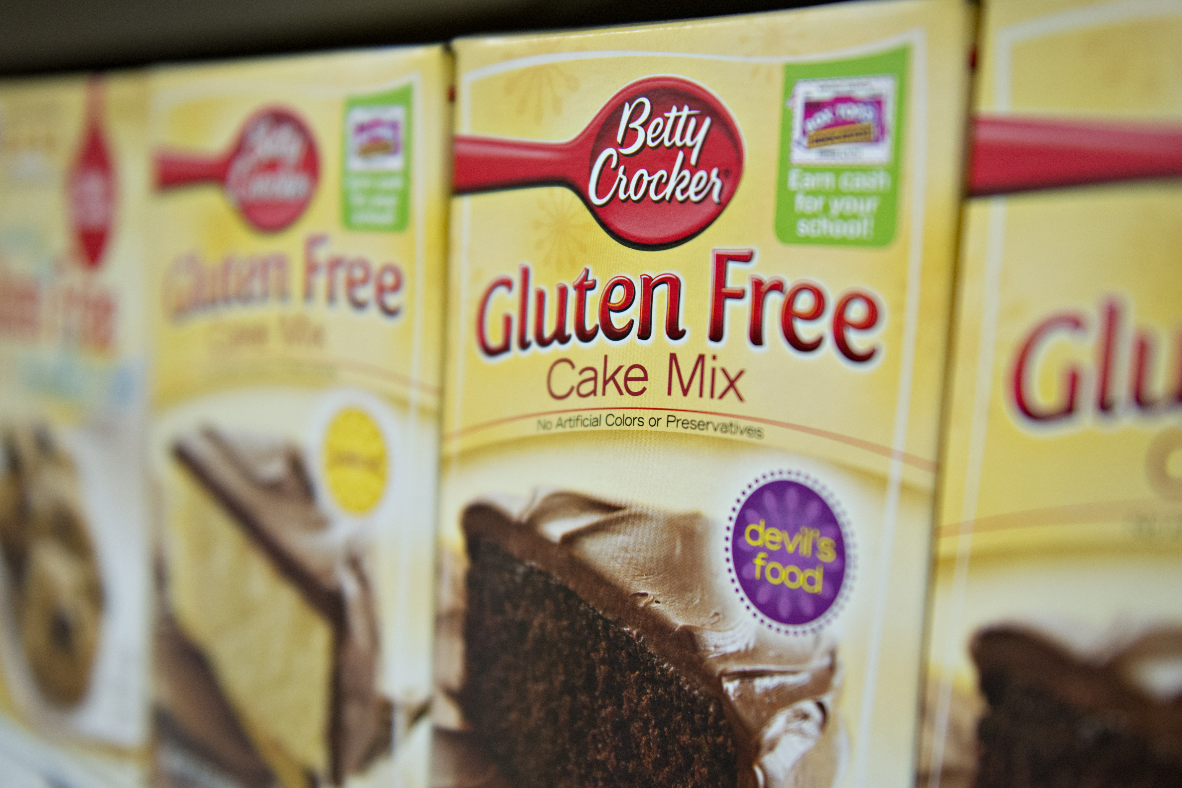 Gluten Free  appears on the packaging for General Mills Inc. Betty Crocker brand cake