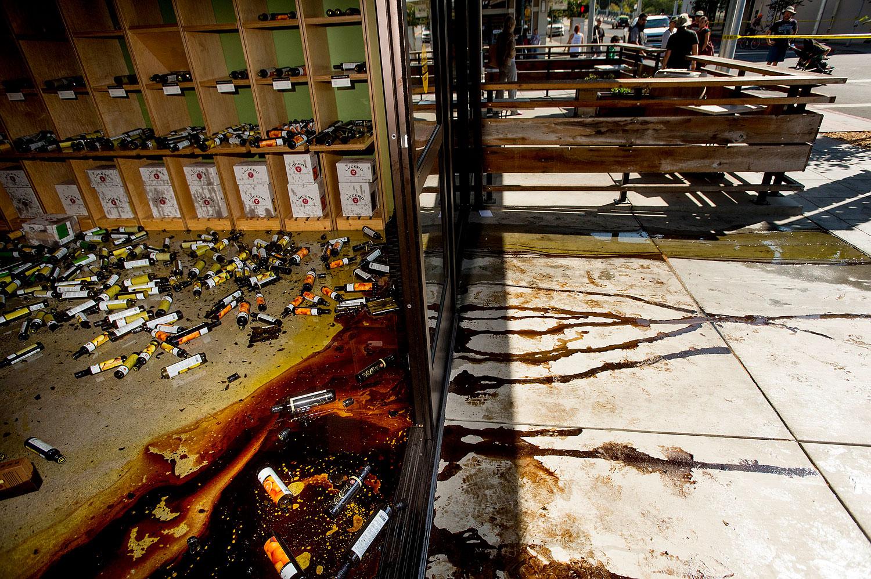 Olive oil and vinegar seeps from Lucero Olive Oil's tasting room in Napa, Calif.
