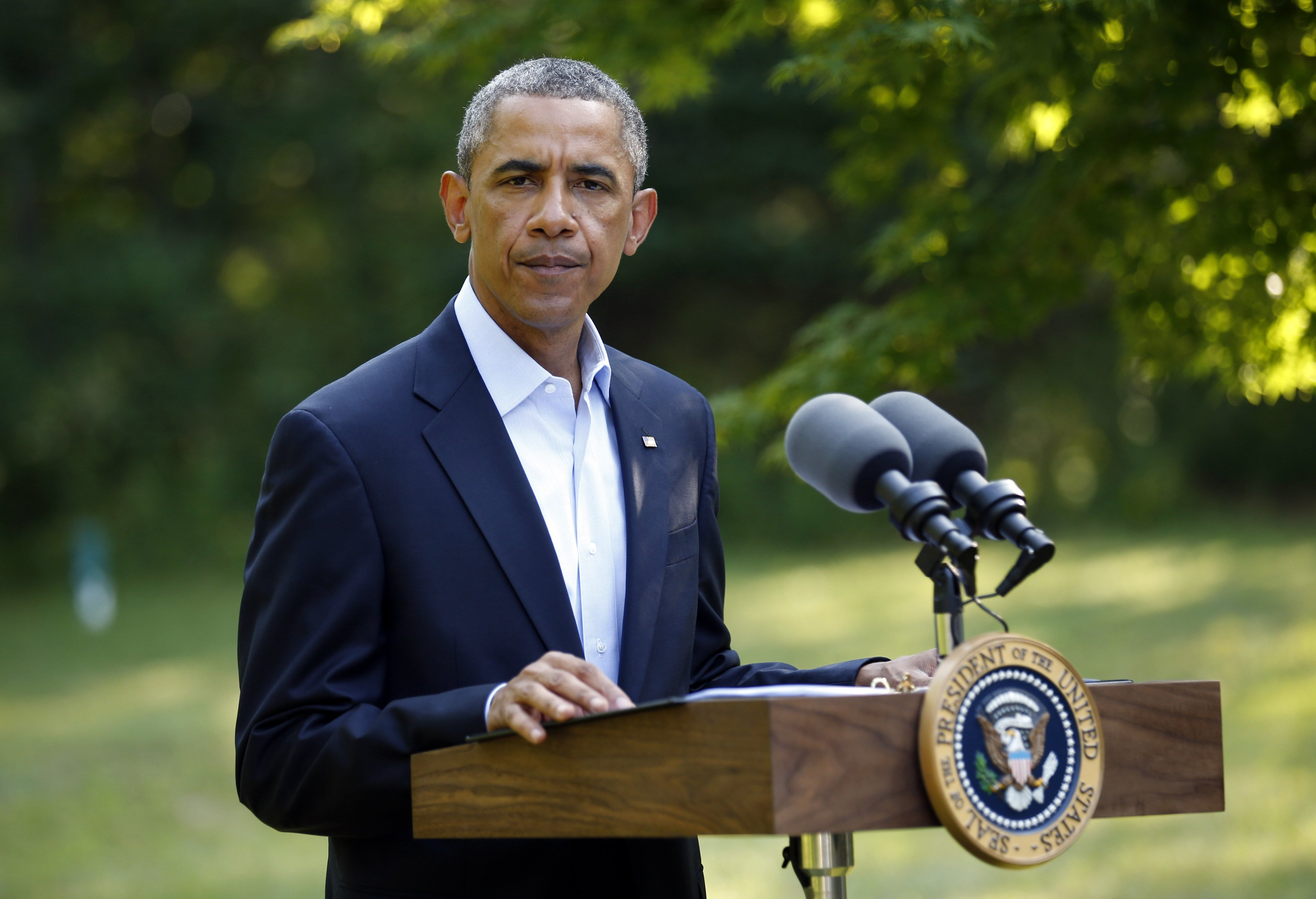 U.S. President Barack Obama delivers a statement on the situation in Iraq from his vacation home at Martha's Vineyard, in Massachusetts, Aug. 11, 2014