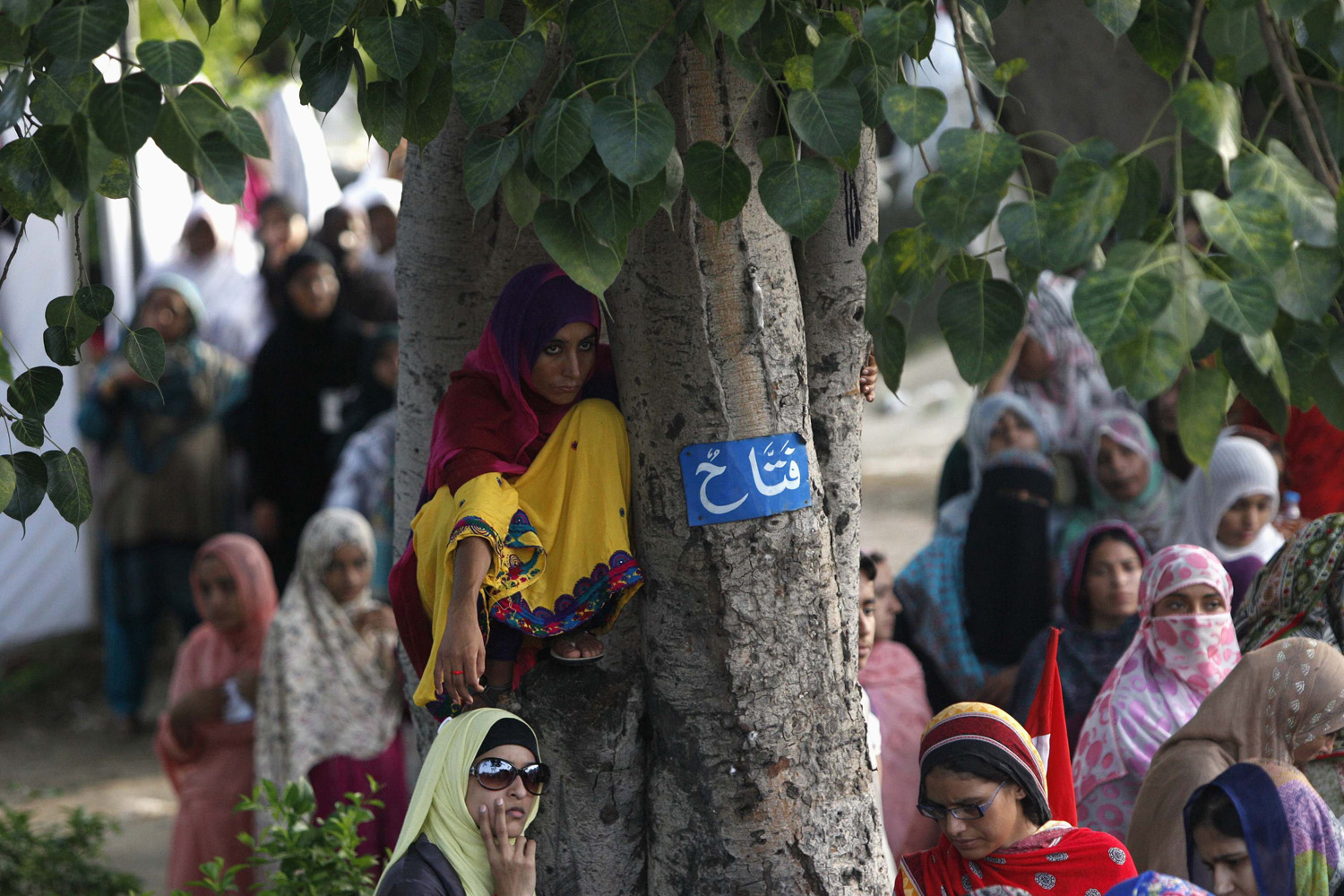 Aug. 18, 2014. A supporter of Mohammad Tahir ul-Qadri, Sufi cleric and leader of political party Pakistan Awami Tehreek (PAT), sits on a tree while listening to his speech with others during the Revolution March in Islamabad.