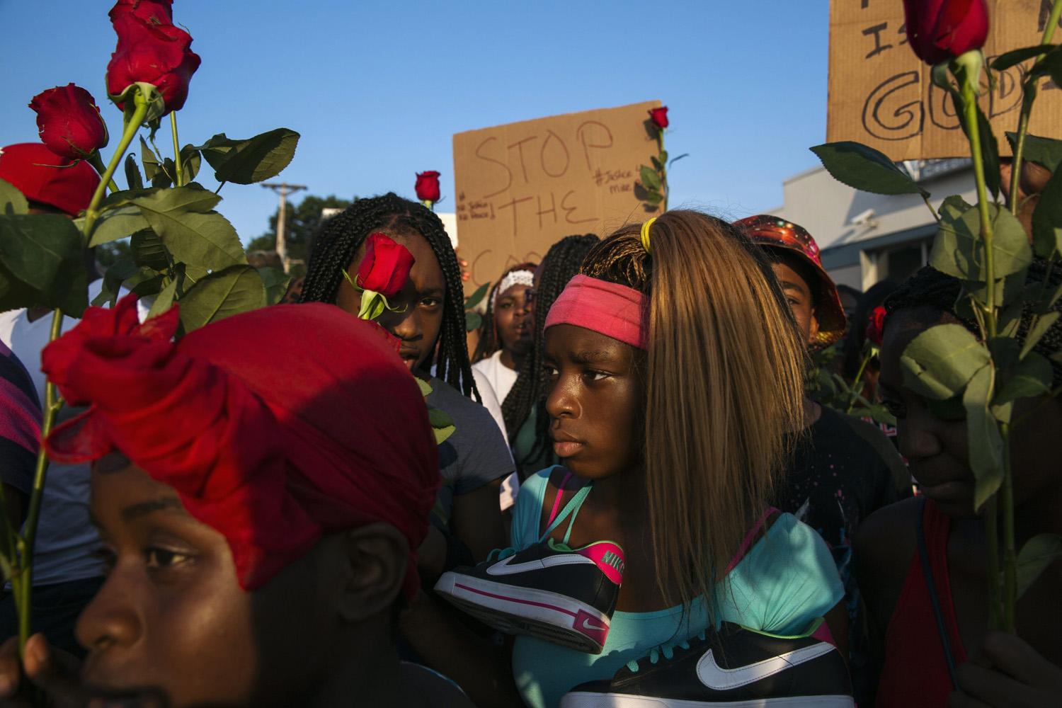 Aug. 18, 2014. Demonstrators march down West Florissant during a peaceful march in reaction to the shooting of Michael Brown, near Ferguson, Missouri.