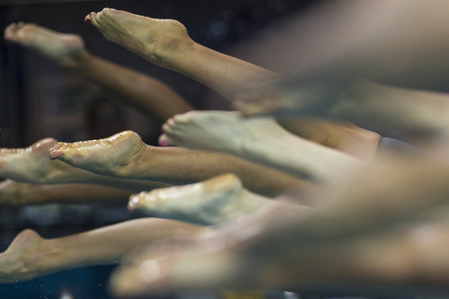 Aug. 20, 2014. Athletes compete in a women's 200m freestyle heat at the 2014 Nanjing Youth Olympic Games in Nanjing, Jiangsu province.