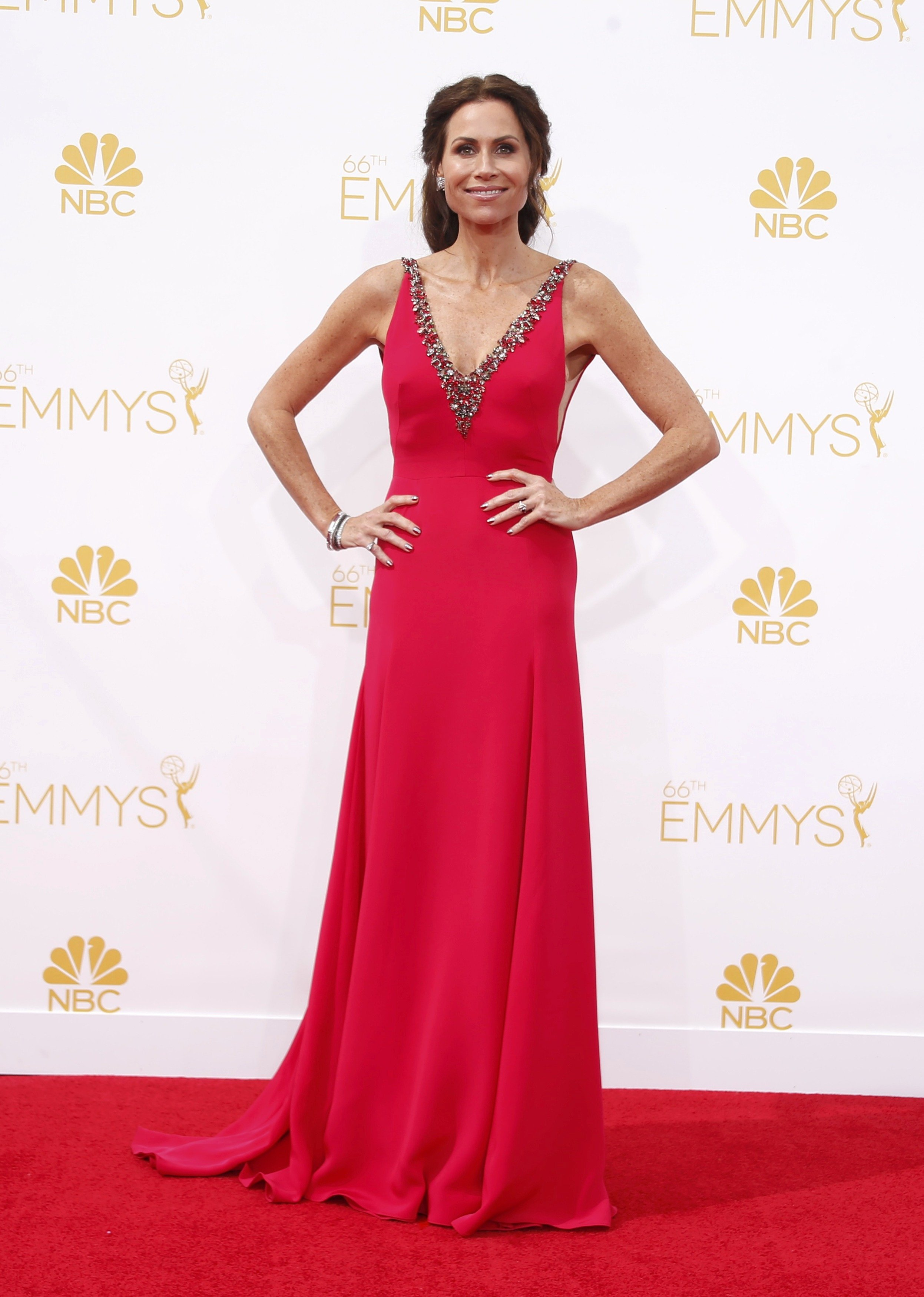 "Minnie Driver from the Lifetime miniseries ""Return to Zero"" arrives at the 66th Primetime Emmy Awards in Los Angeles, California August 25, 2014."