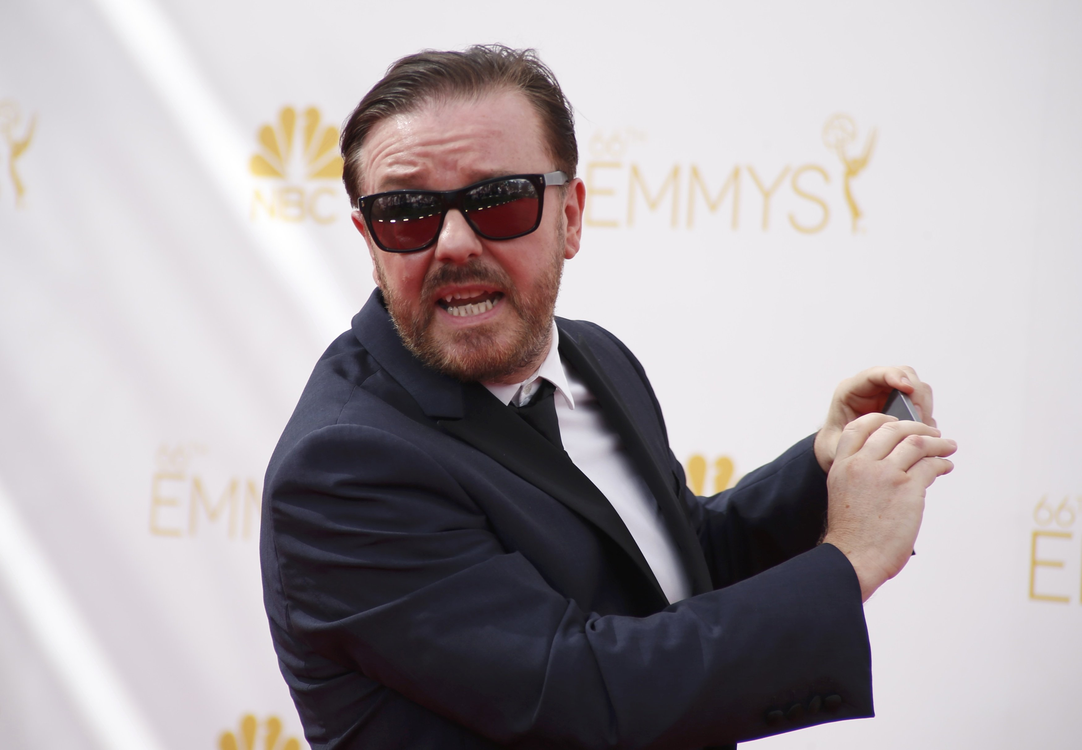 Actor Ricky Gervais arrives at the 66th Primetime Emmy Awards in Los Angeles, California August 25, 2014.