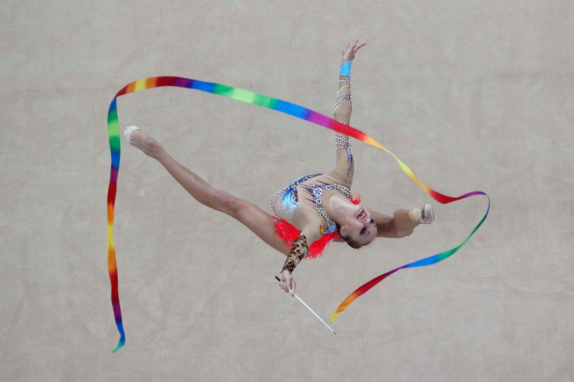 Russian's Irina Annenkova competes during the rhythmic gymnastics individual all-around final match at the 2014 Nanjing Youth Olympic Games in Nanjing