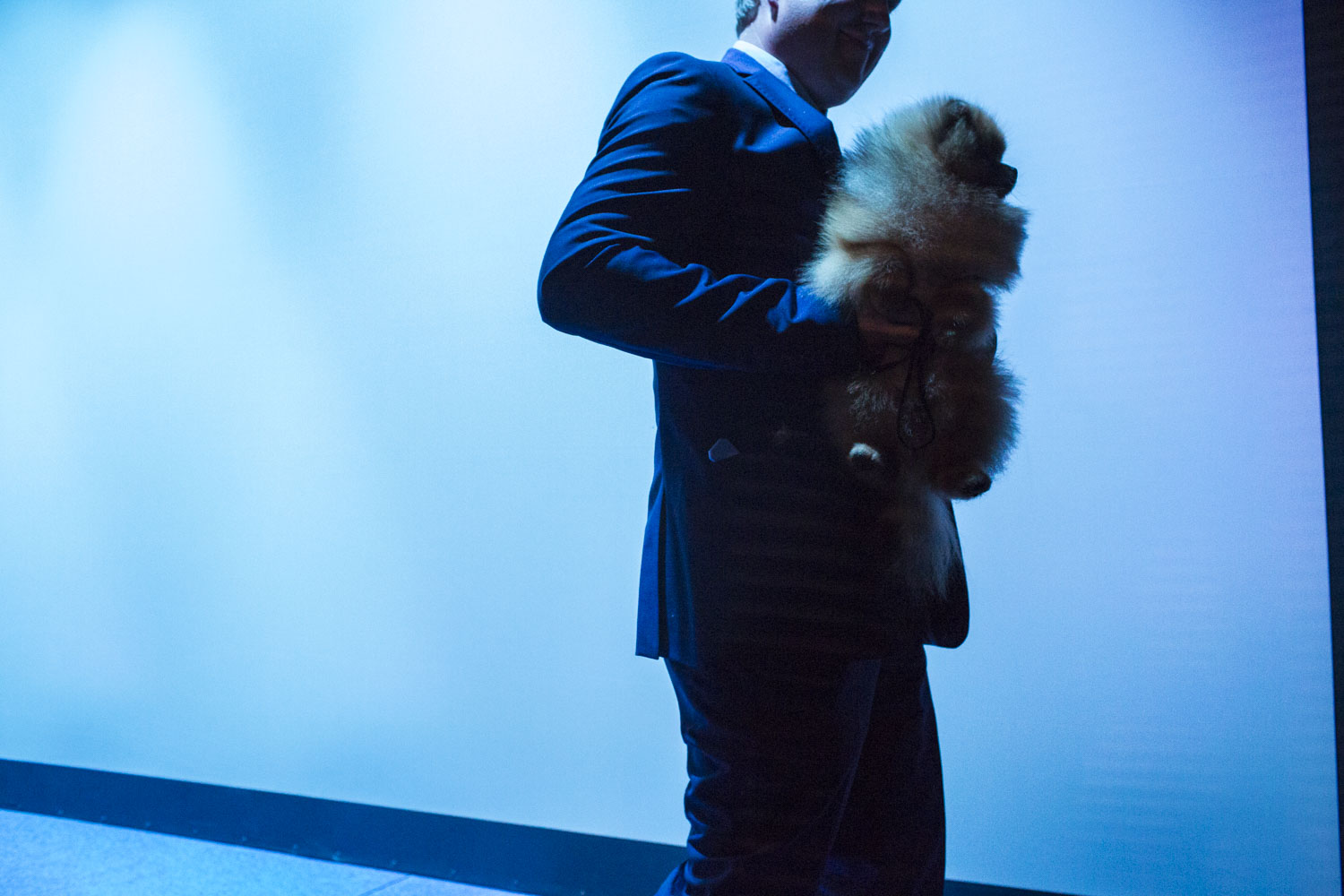 An unidentified man carries an unidentified dog from the main stage during the 2014 World Dog Show on Saturday, August 9th, 2014, in Helsinki, Finland.