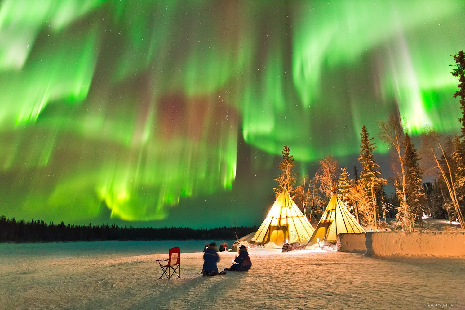 The Aurora Borealis lights seen rippling across the sky, in Northern Canada on August 14, 2014.