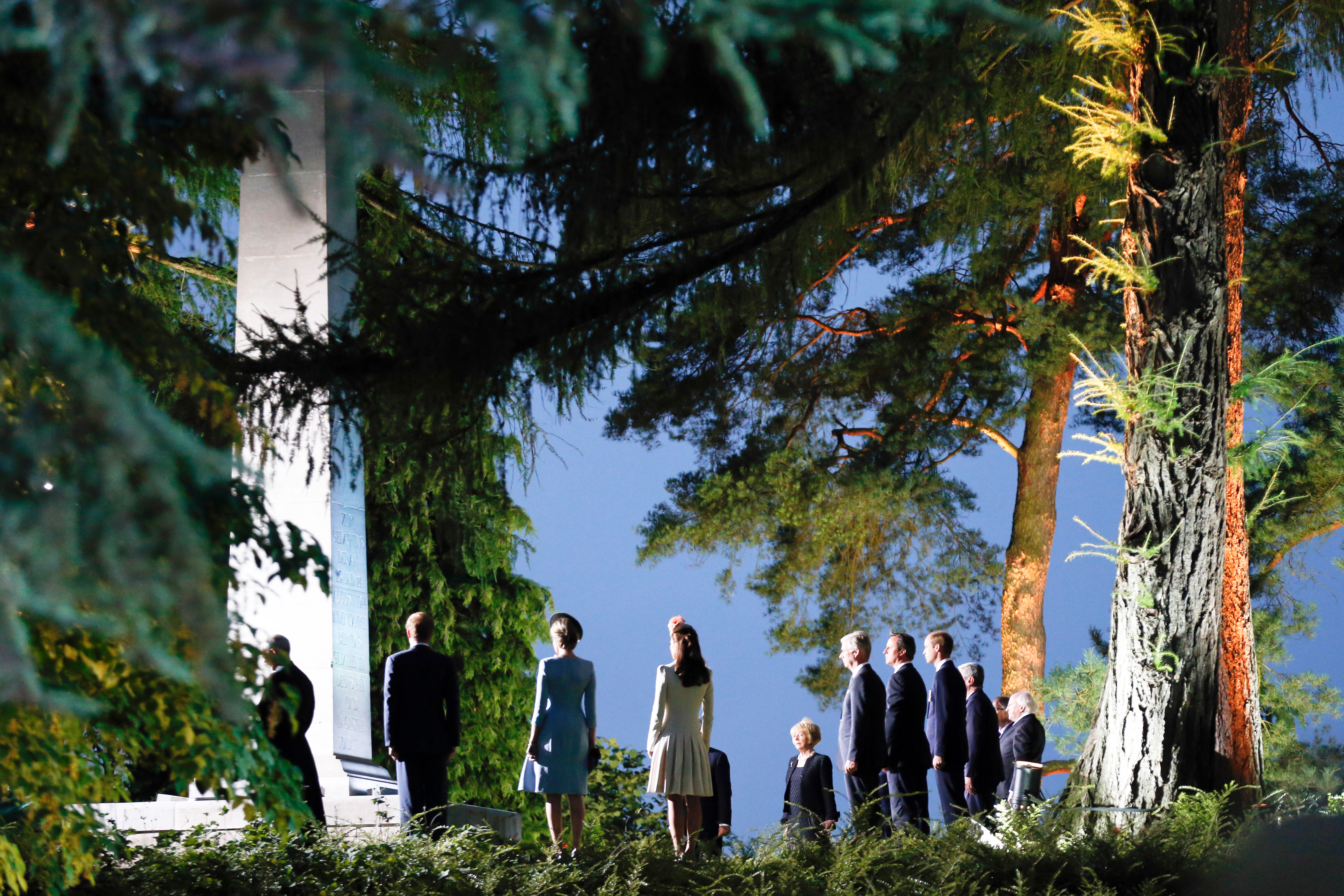 Aug. 4, 2014. Britain's Prince William, Duke of Cambridge and Catherine, Duchess of Cambridge with Prince Harry and Prime Minister David Cameron attend memorial service and reception held at St. Symphorien Cemetery to mark the centenary of the Great War hosted by the King and Queen of Belgium in Mons, Belgium.