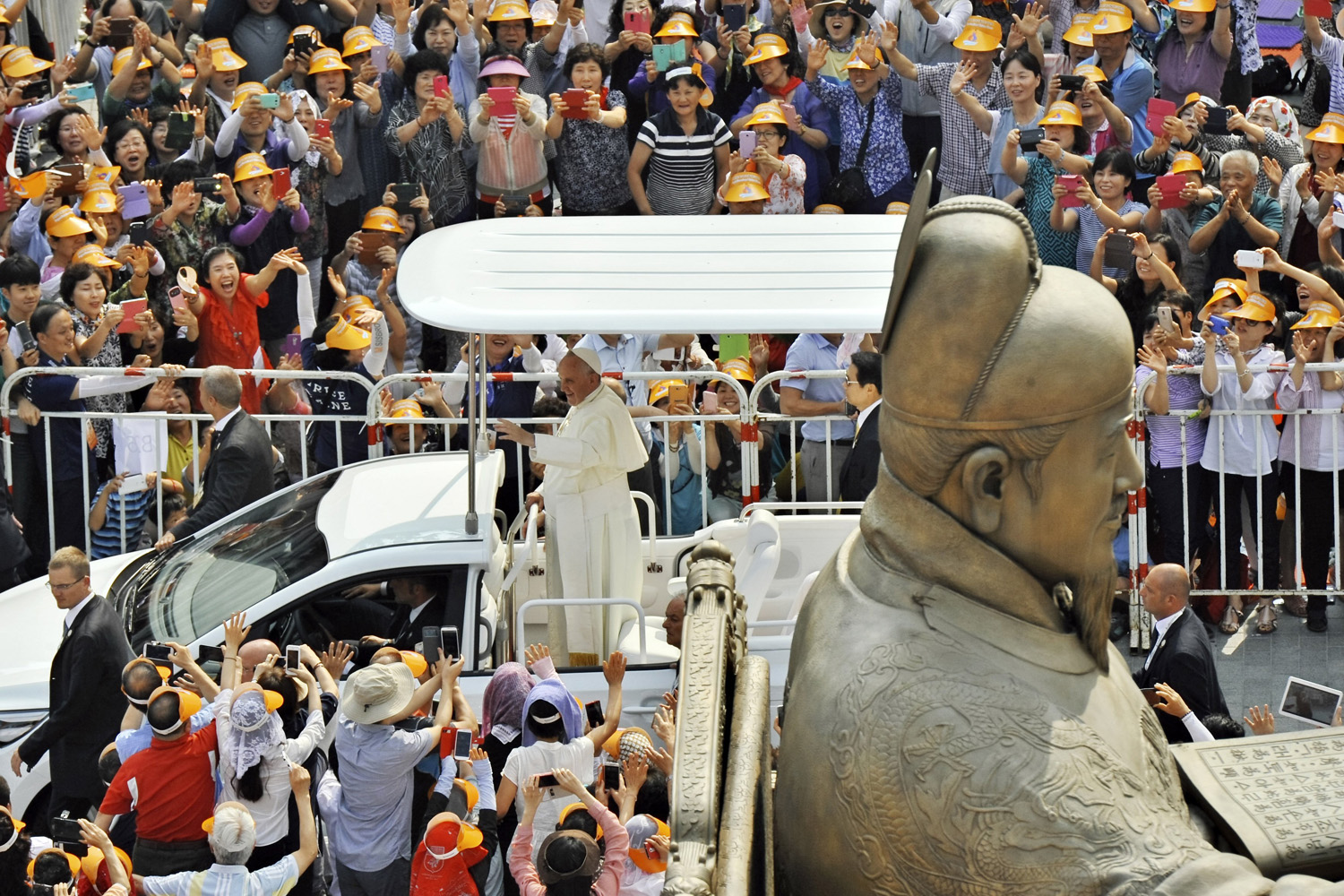 Aug. 16, 2014. Pope Francis arrives to celebrate the  Beatification of 124 Korean Martyrs  at Gwanghwamun Square in Seoul, South Korea.