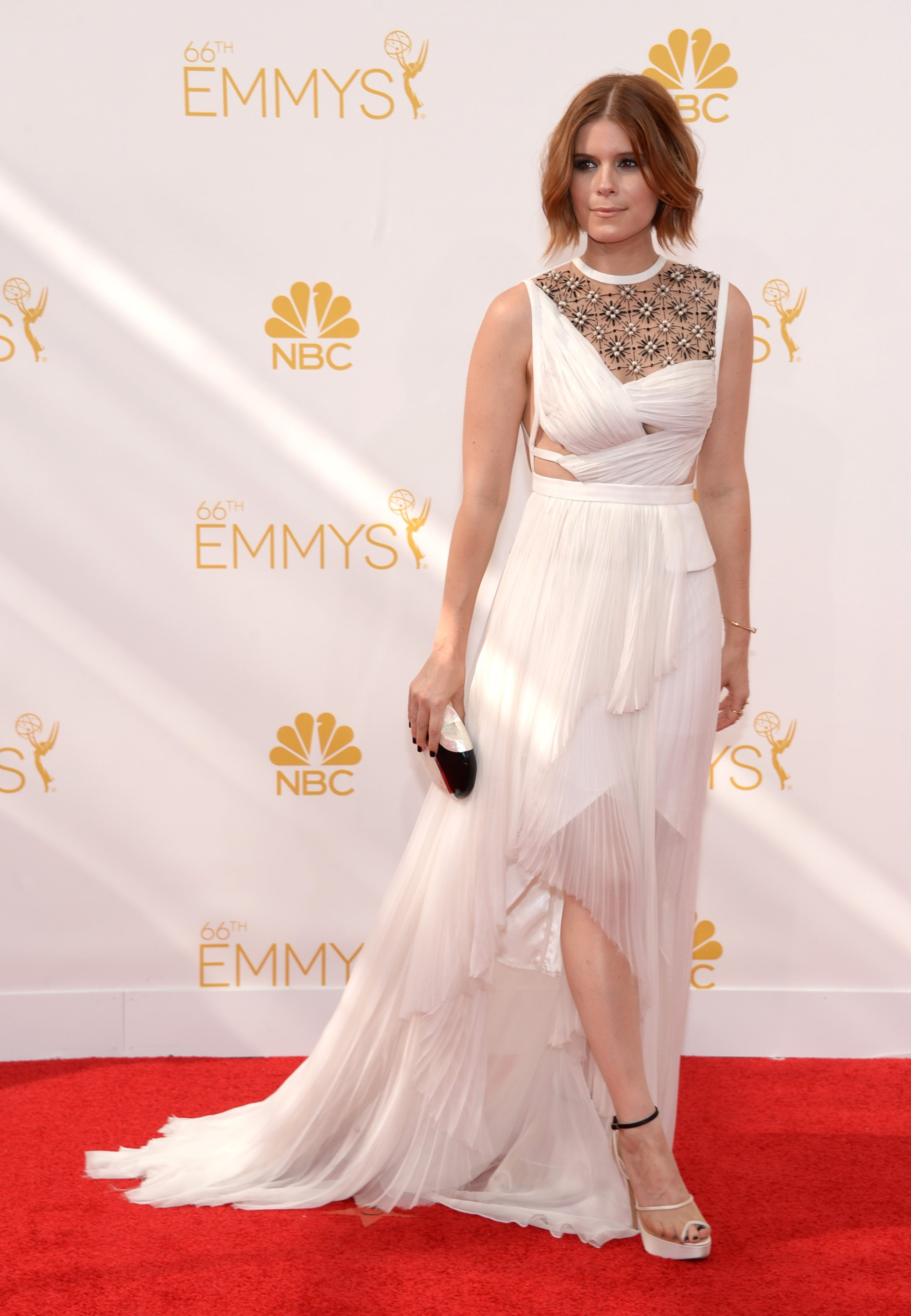 Kate Mara arrives at the 66th Primetime Emmy Awards at the Nokia Theatre L.A. Live on Monday, Aug. 25, 2014, in Los Angeles.