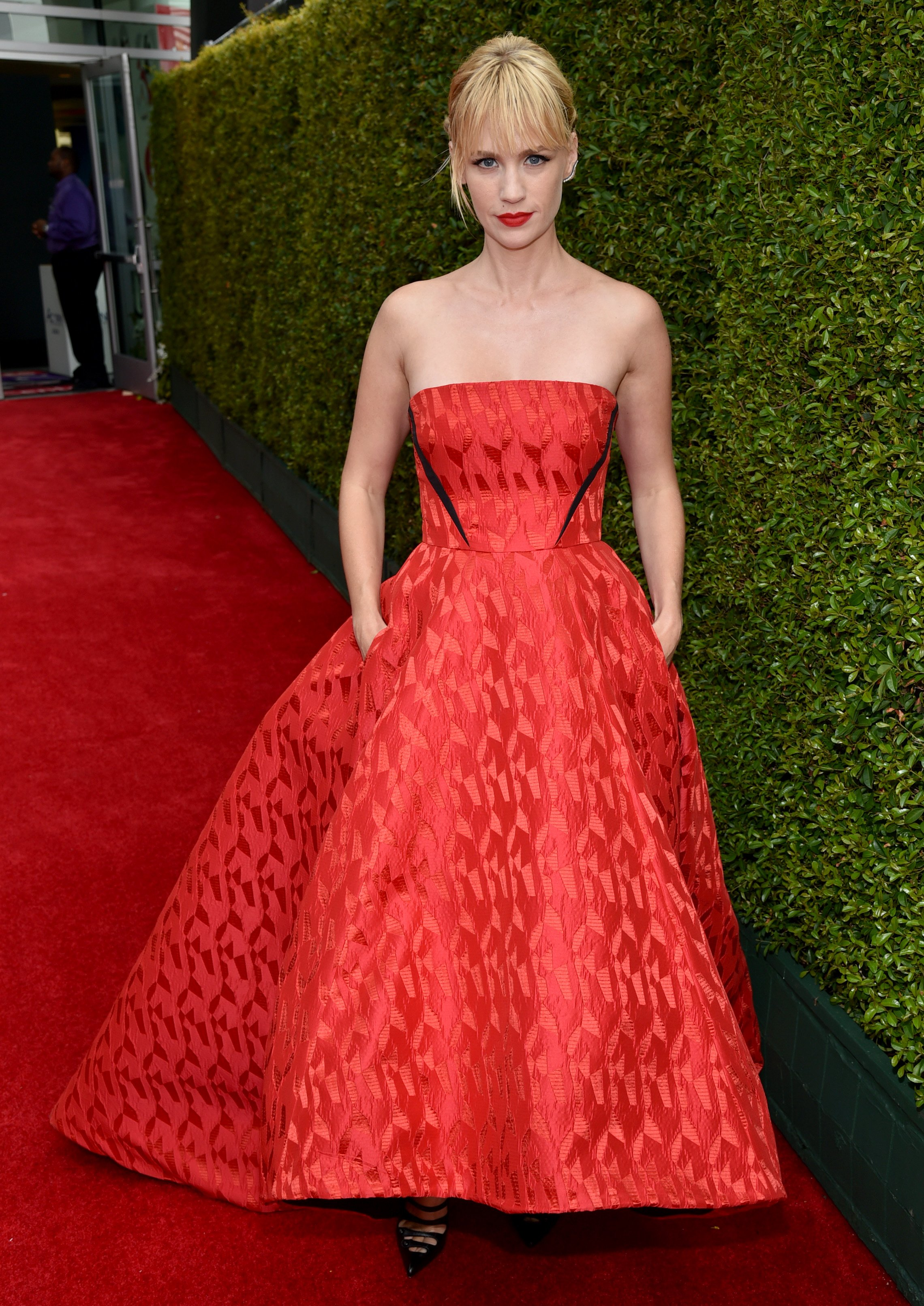 January Jones arrives at the 66th Primetime Emmy Awards at the Nokia Theatre L.A. Live on Monday, Aug. 25, 2014, in Los Angeles.