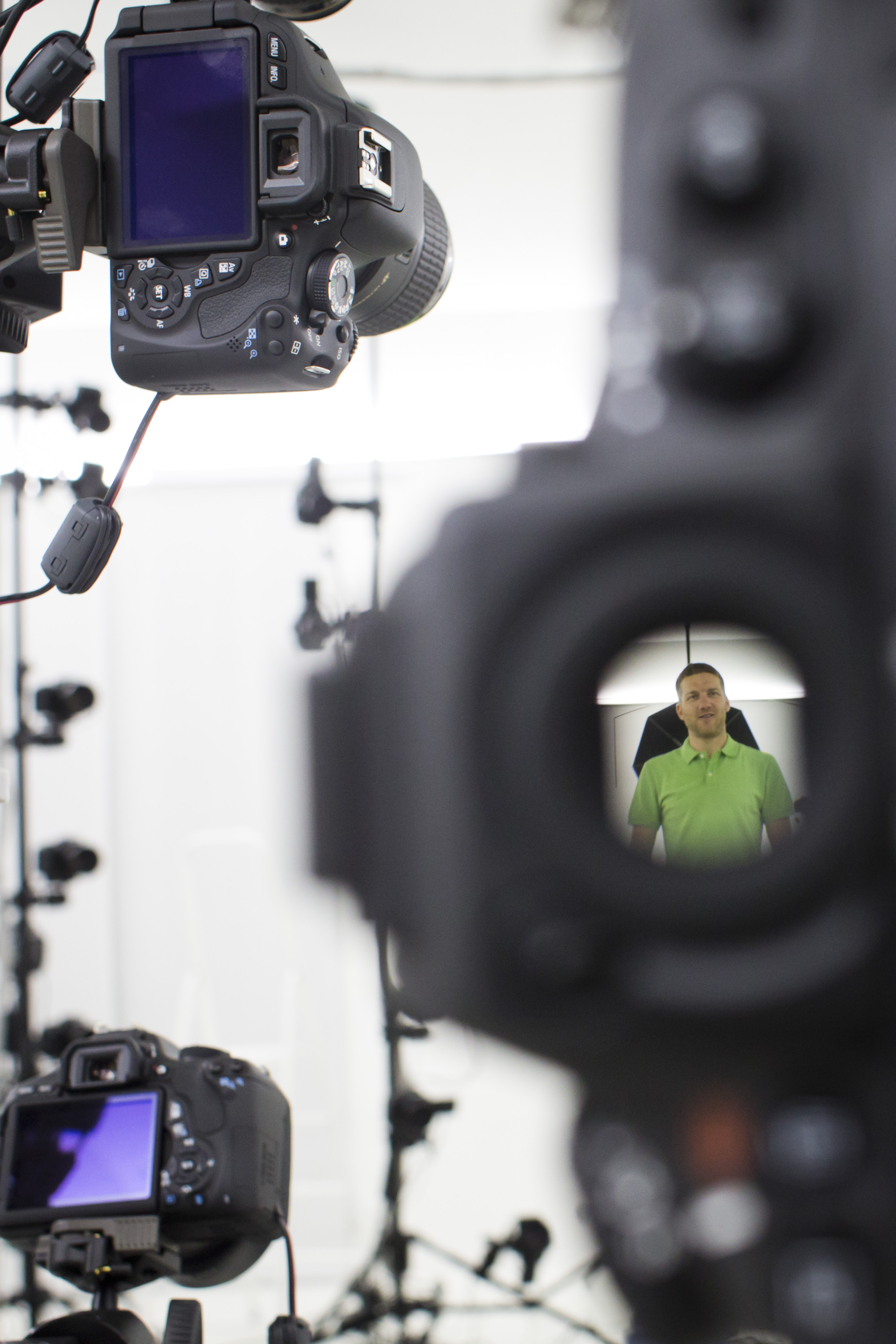 Martin Benes from 3D gang company is seen through the viewfinder as he demonstrates one of the stages of 3D scanning on August 26, 2014 in Prague, Czech Republic.