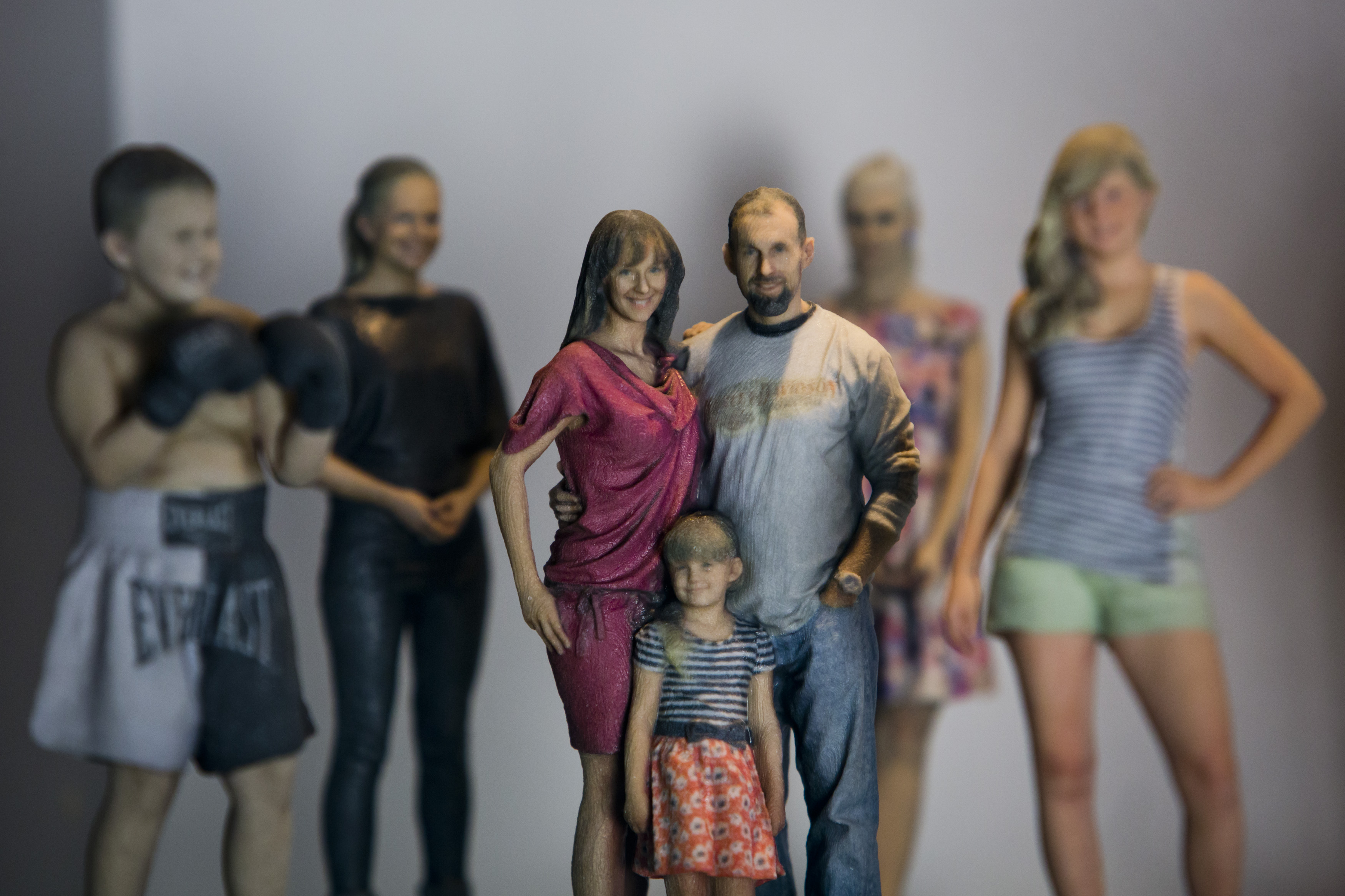 Printed figurines stand on display at the 3D gang company on August 26, 2014 in Prague, Czech Republic.