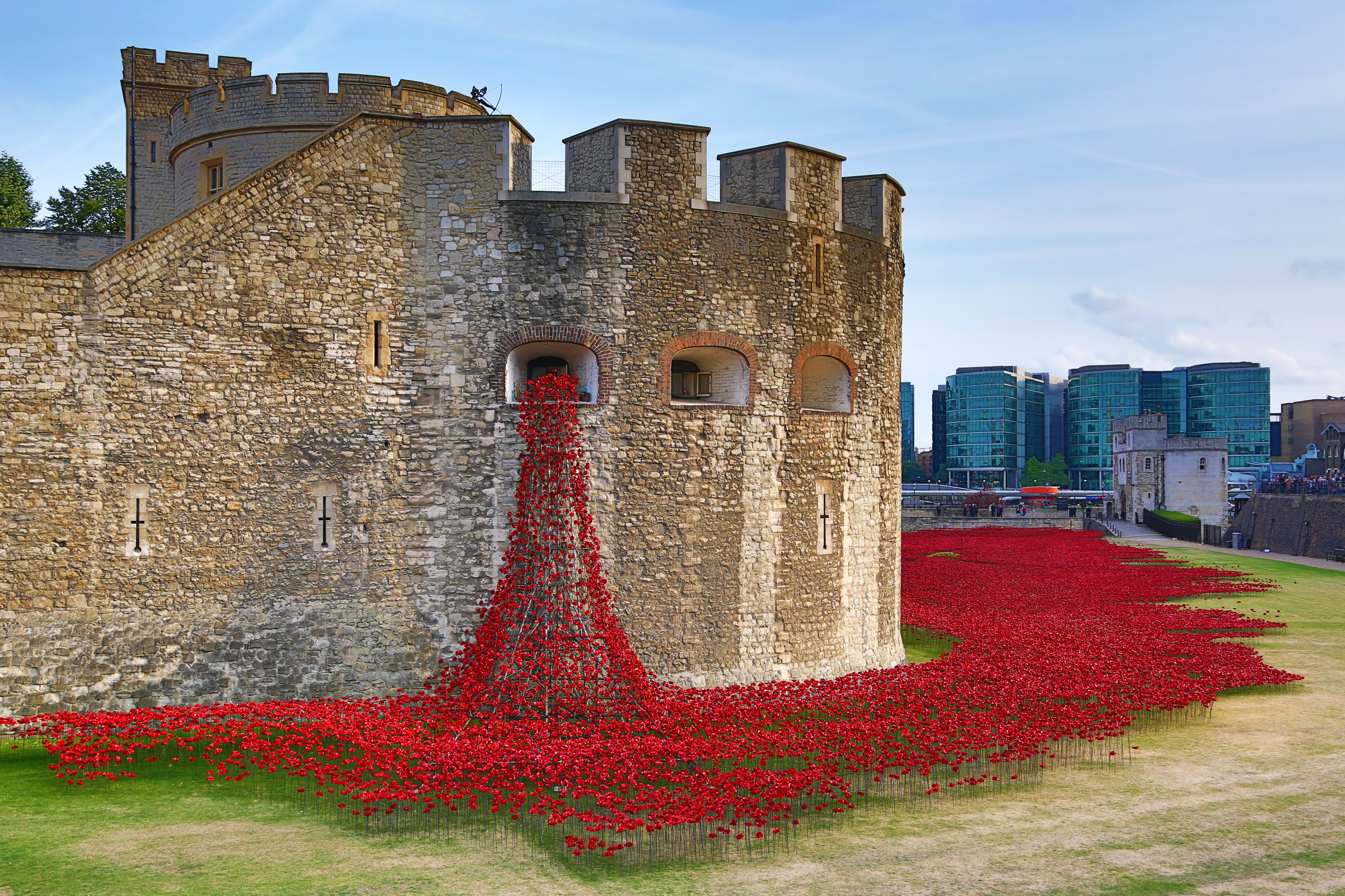 Aug. 5, 2014. A sea of poppies around the Tower of London at the opening of the 'Blood Swept Lands and Seas of Red' artwork by Paul Cummins comprising 888,246 ceramic poppies, each poppy representing a British or Colonial military fatality in the First World War.