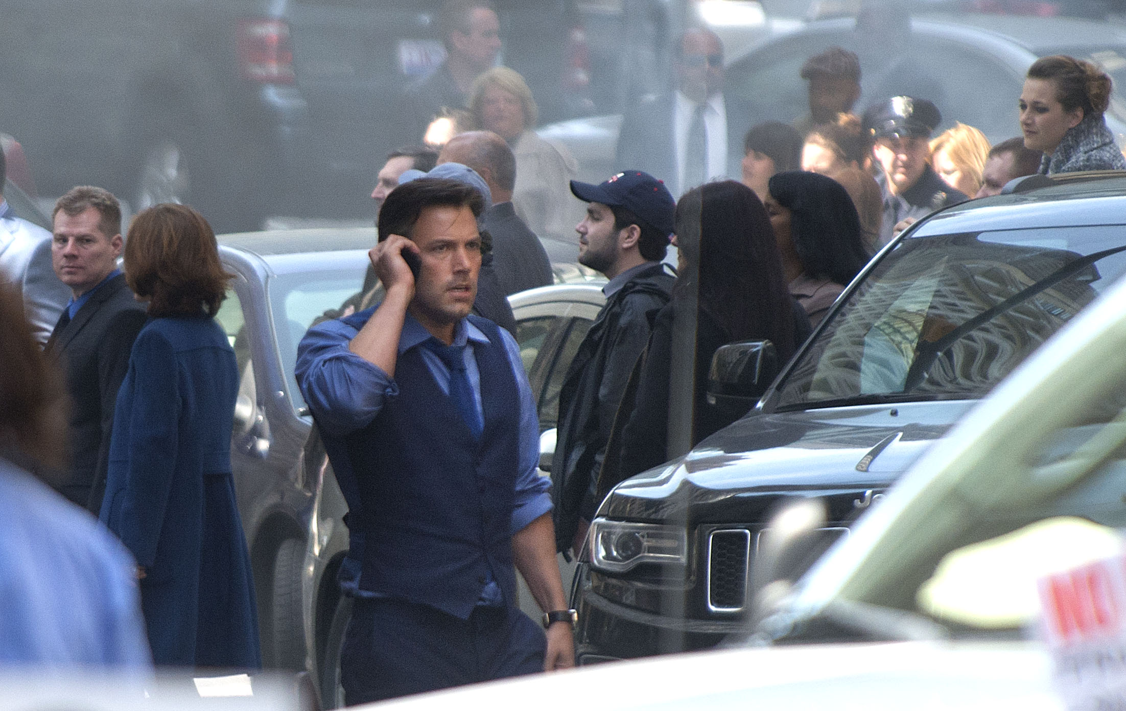 Ben Affleck films a scene from Batman v Superman: Dawn of Justice in the streets of downtown Detroit.