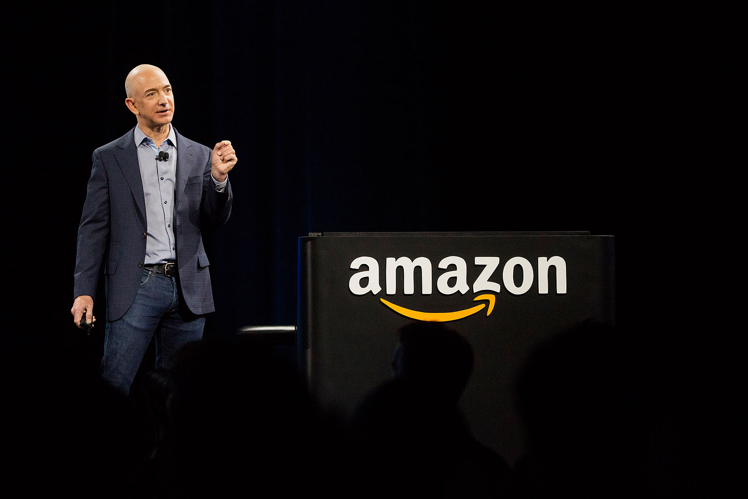 Jeff Bezos, chief executive officer of Amazon, speaks after unveiling the Fire phone during an event in Seattle on June 18, 2014