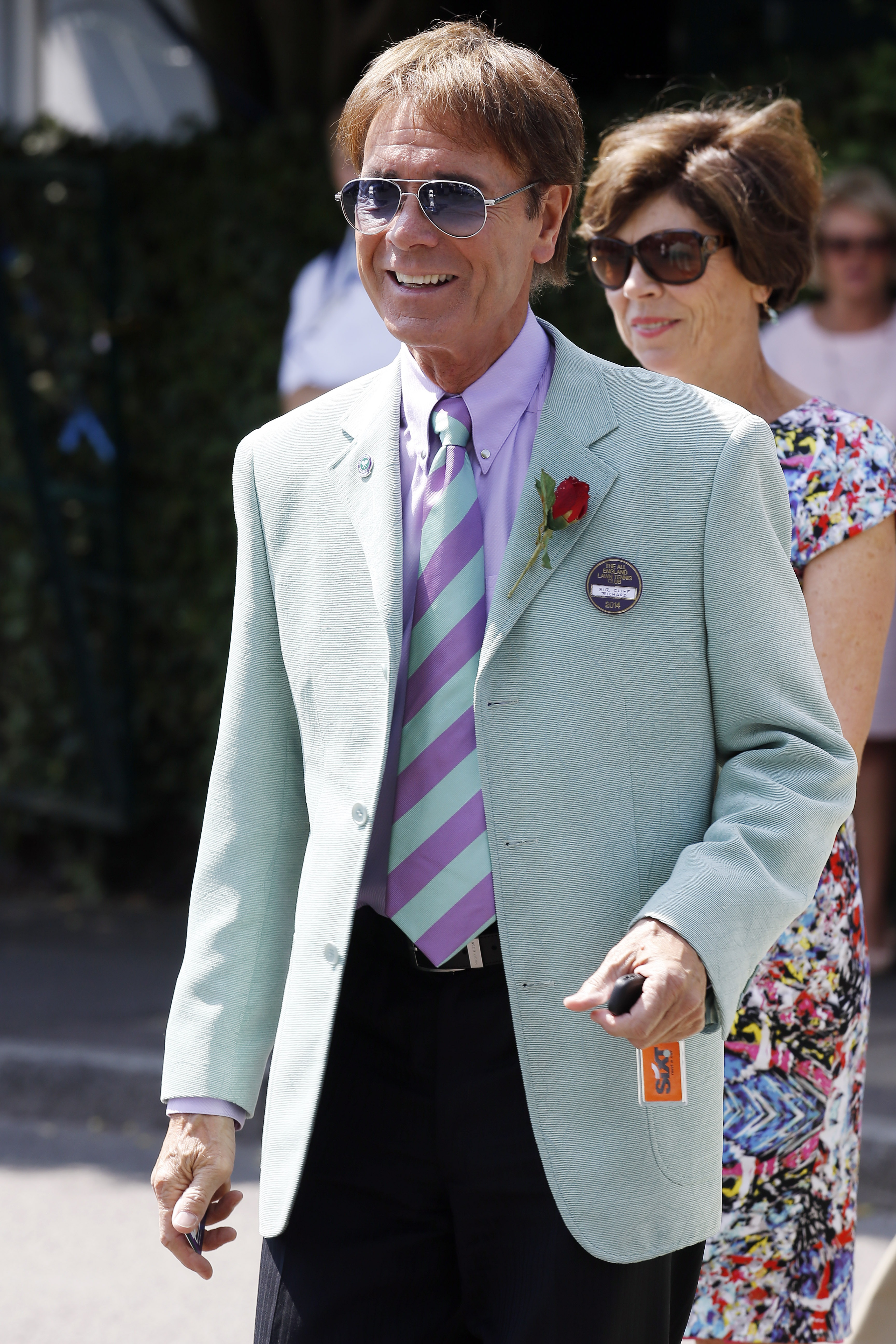 Sir Cliff Richard seen arriving at Wimbledon on July 04, 2014 in London.